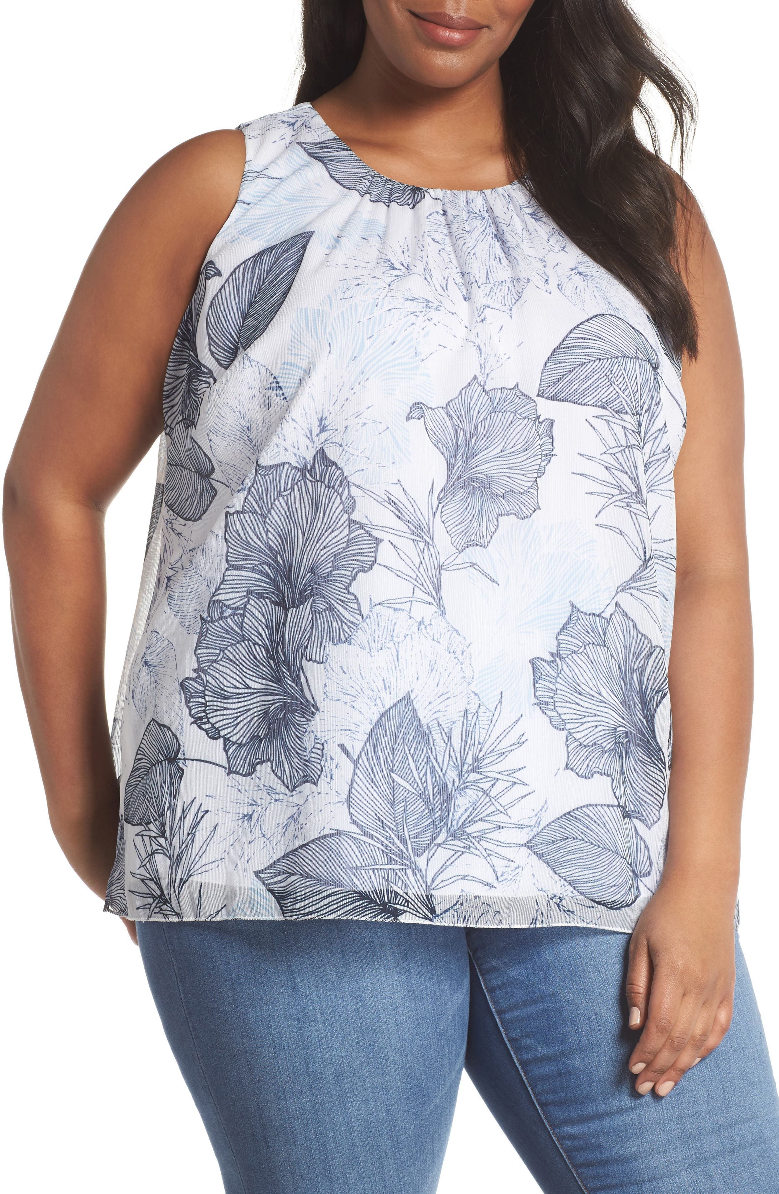 Etched Island Floral Blouse,                         Main,                         color, Ultra White