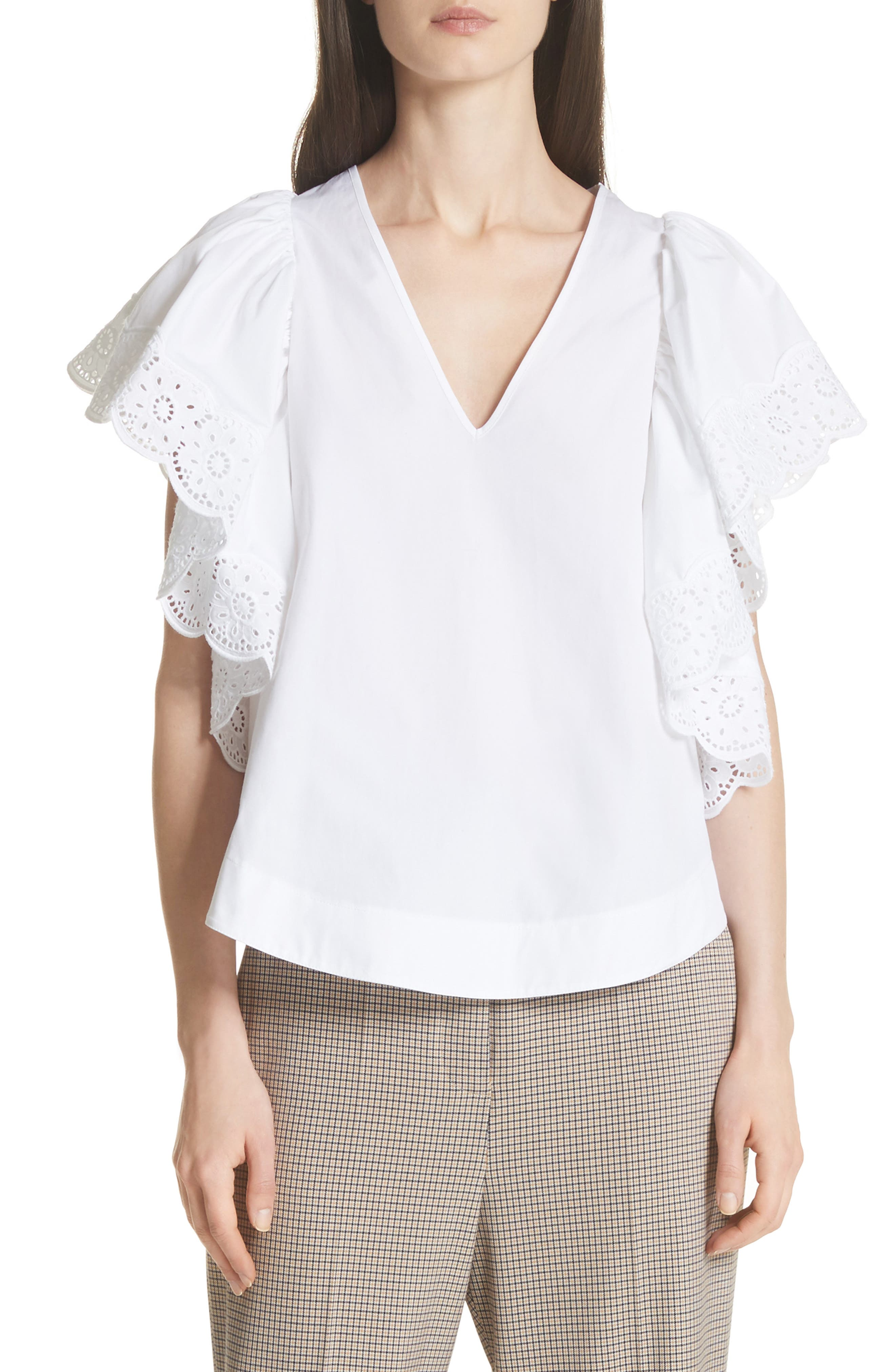 See by Chloé Eyelet Trim Ruffle Sleeve Top
