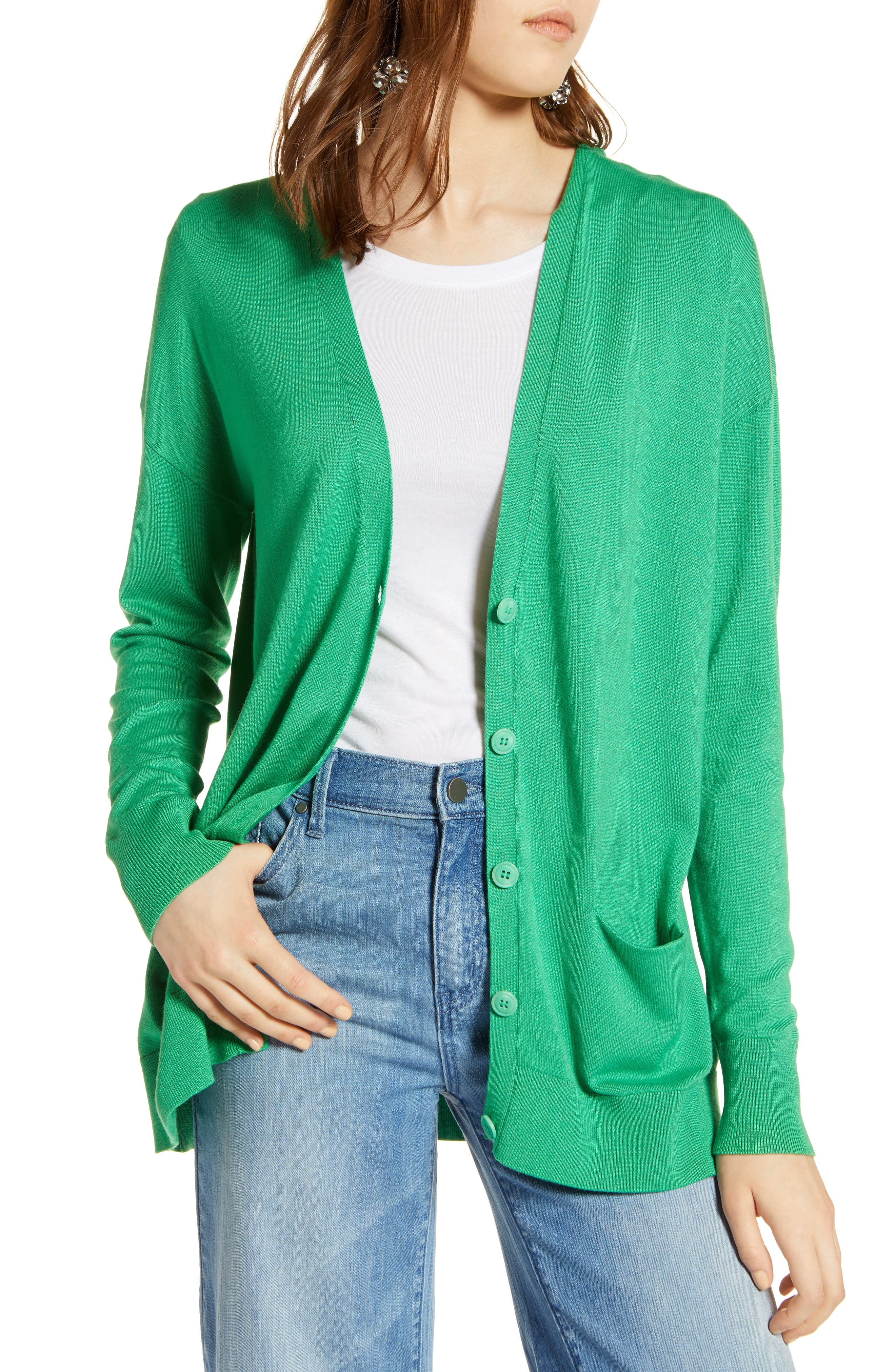 Halogen® Relaxed Pocket Cardigan (Regular & Petite)