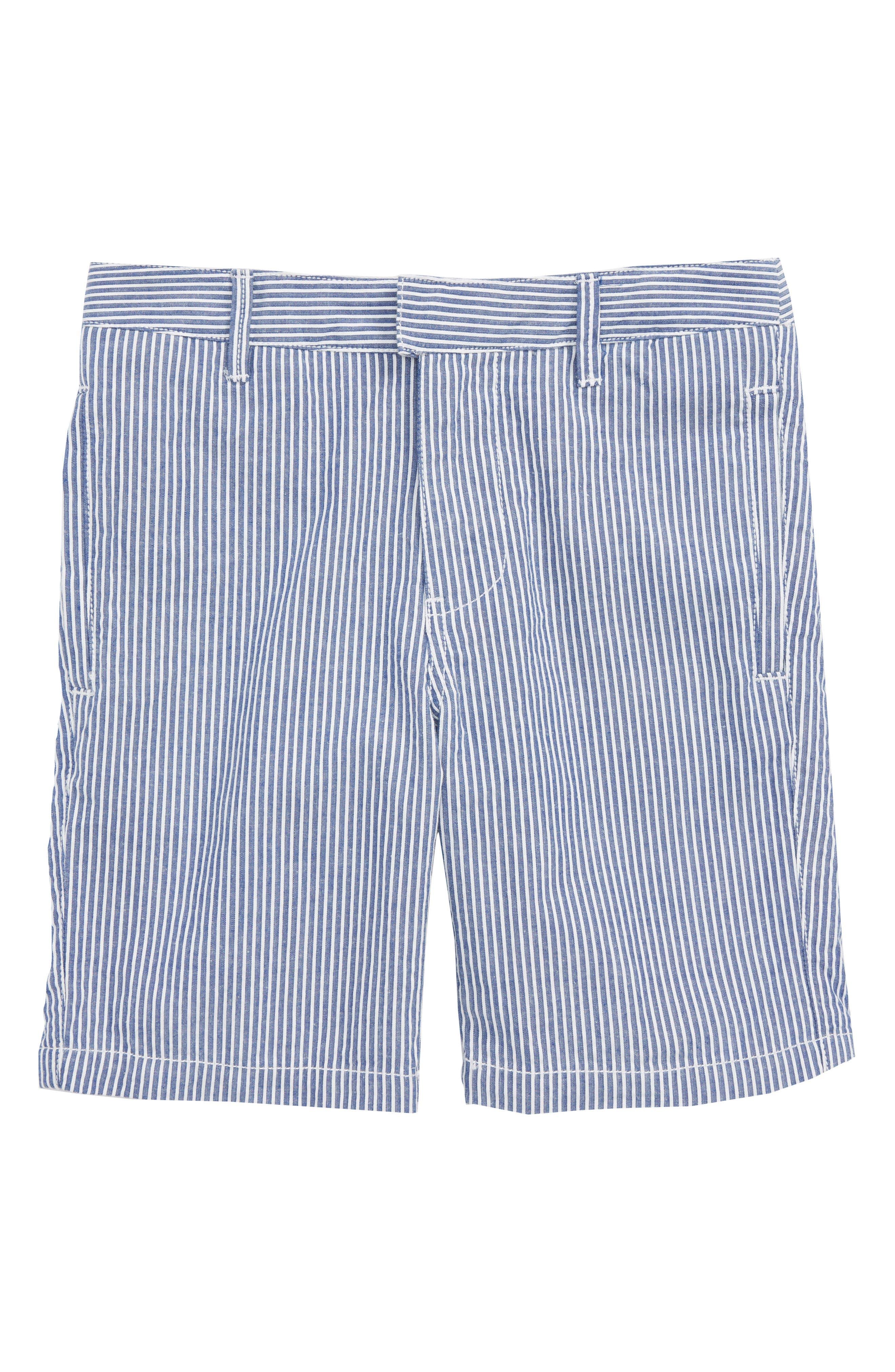 Smart Stripe Shorts,                             Main thumbnail 1, color,                             Duke Blue/ Ecru Seersucker