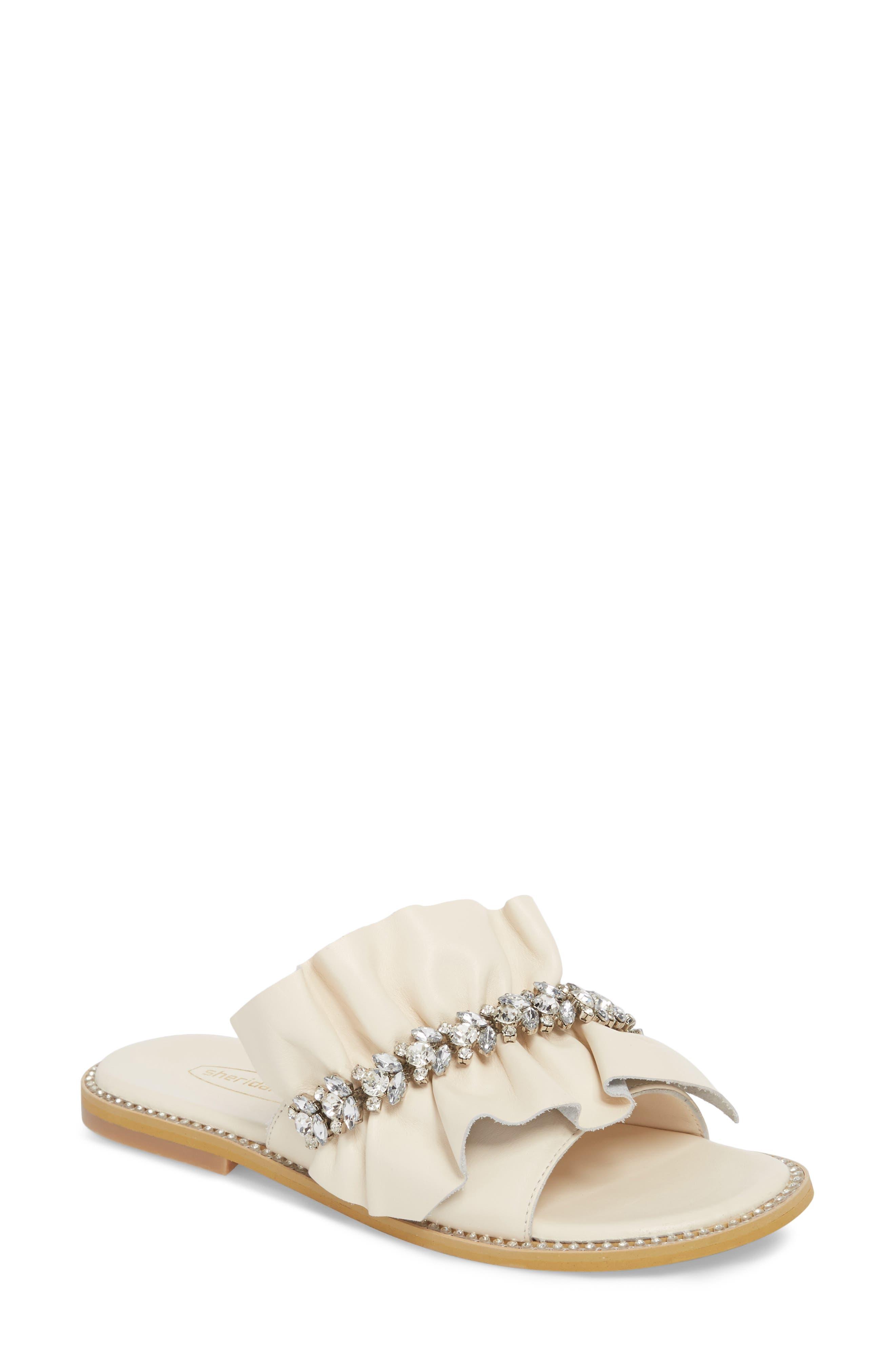 Tiana Crystal Slide Sandal,                         Main,                         color, Cream Leather
