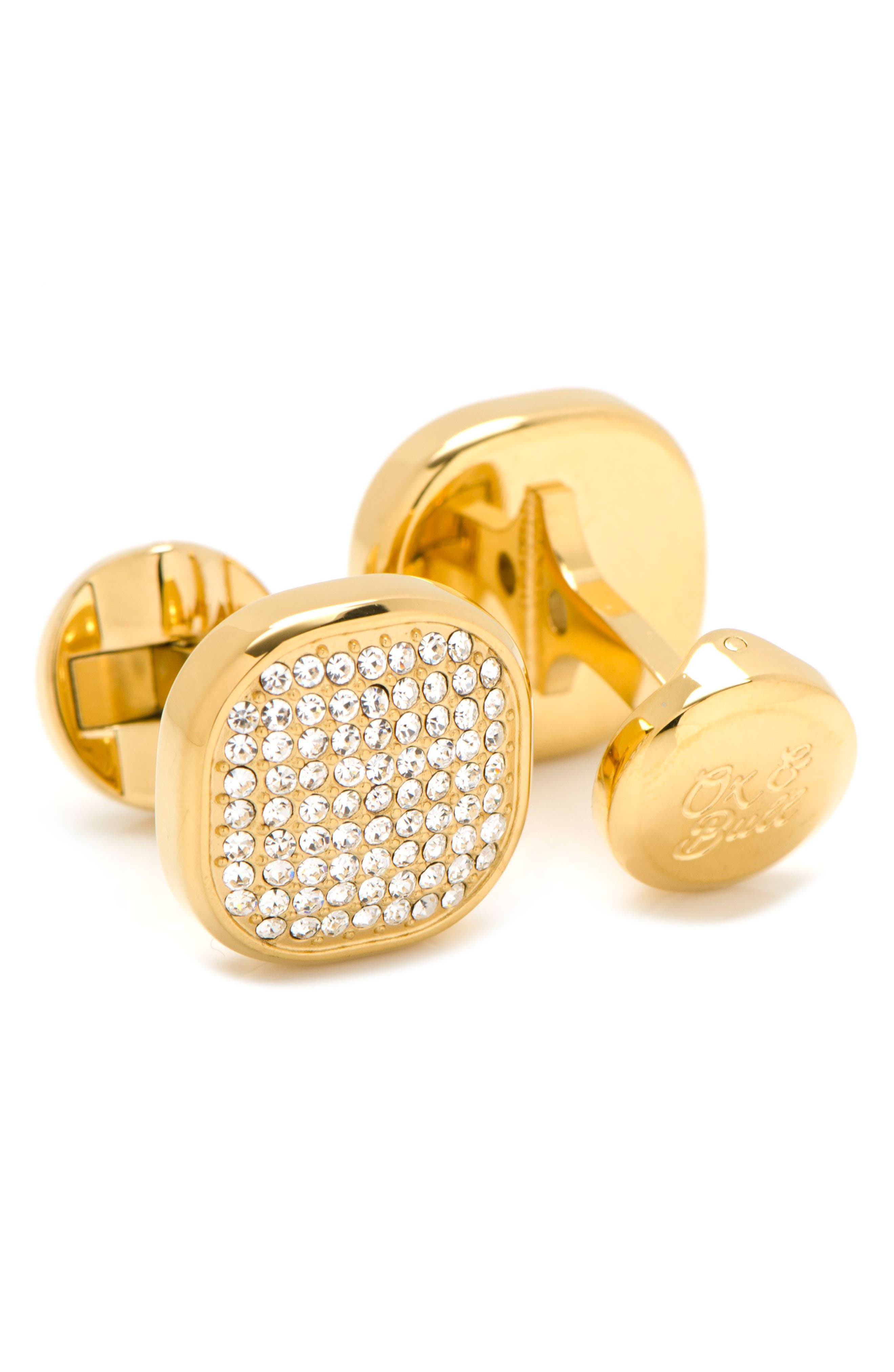 Pavé Goldtone Cuff Links,                             Alternate thumbnail 2, color,                             Gold/ White