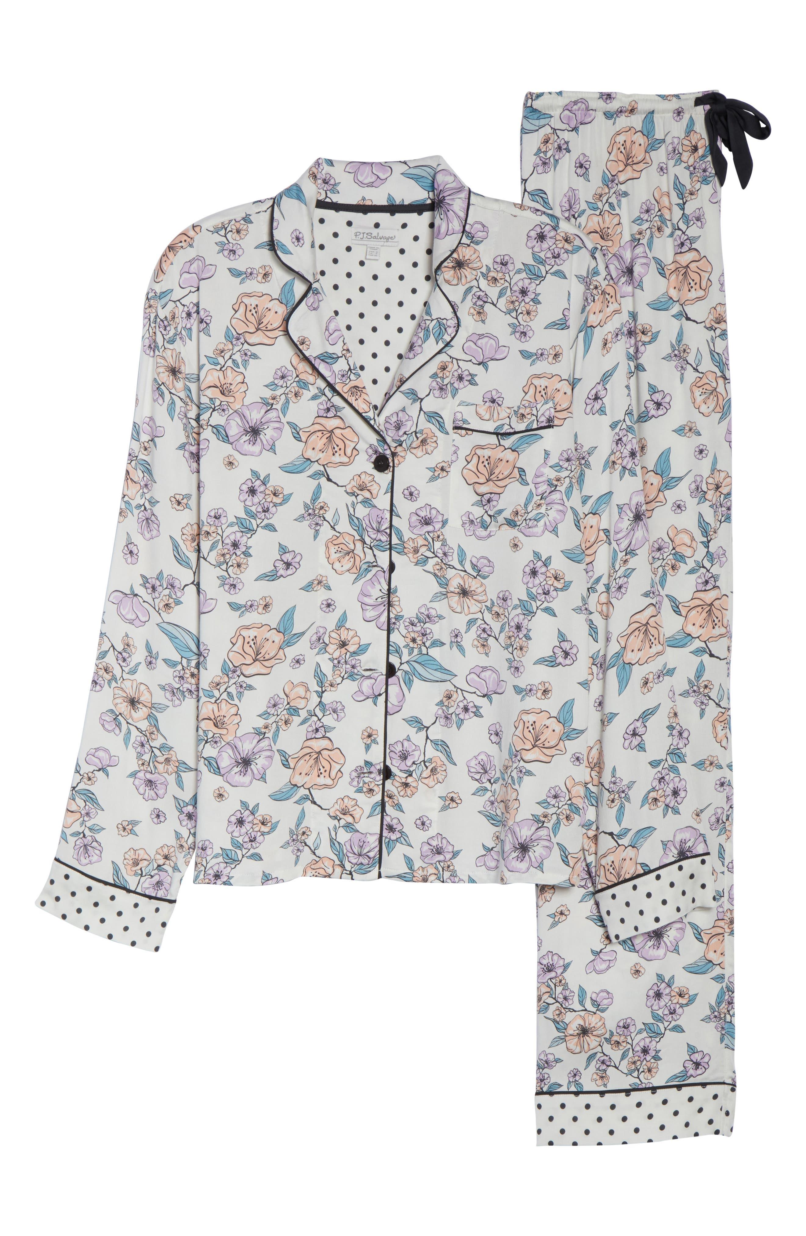 Floral Print Pajamas,                             Alternate thumbnail 6, color,                             Natural
