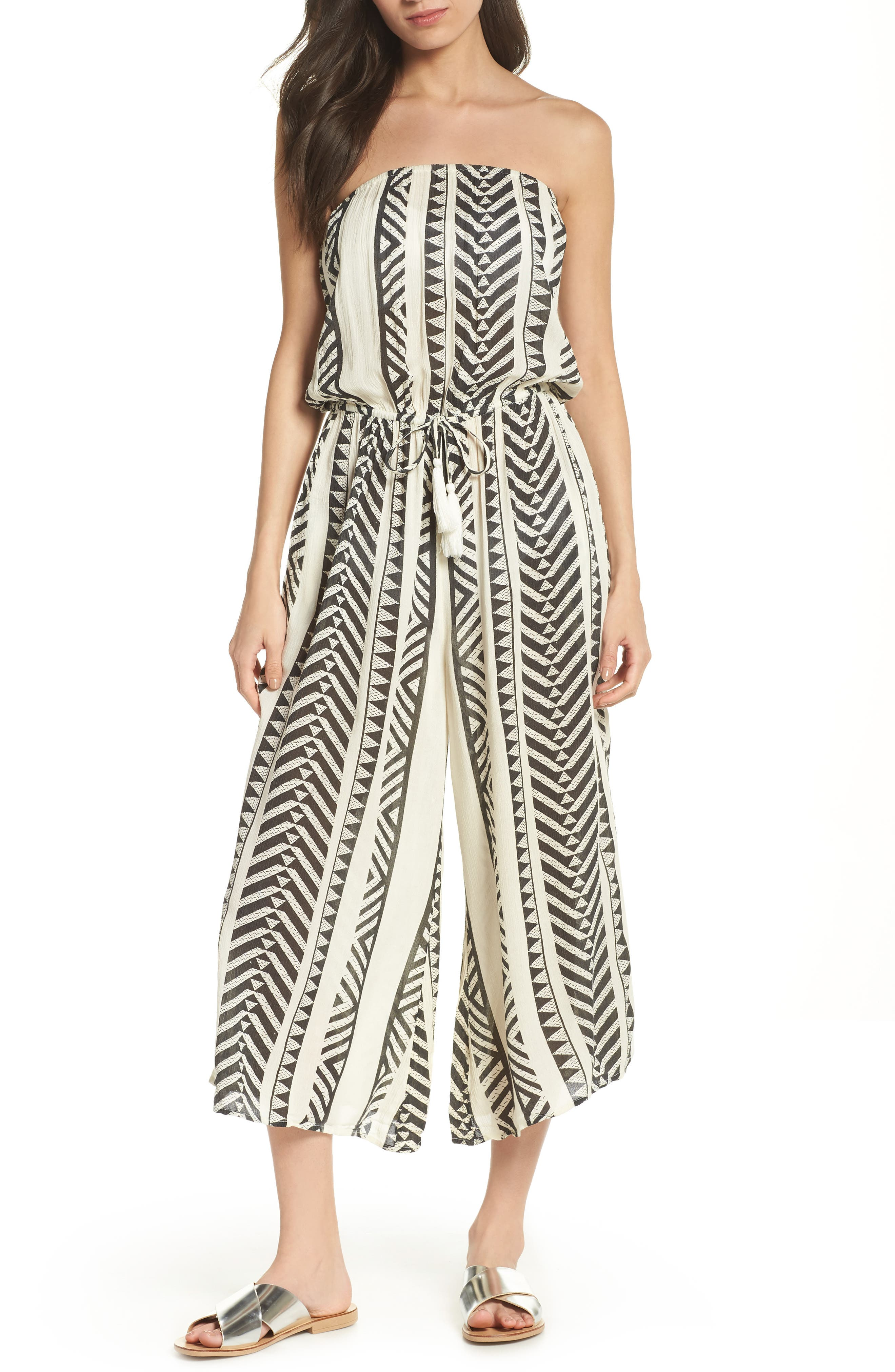 Strapless Cover-Up Jumpsuit,                         Main,                         color, Black Tribal