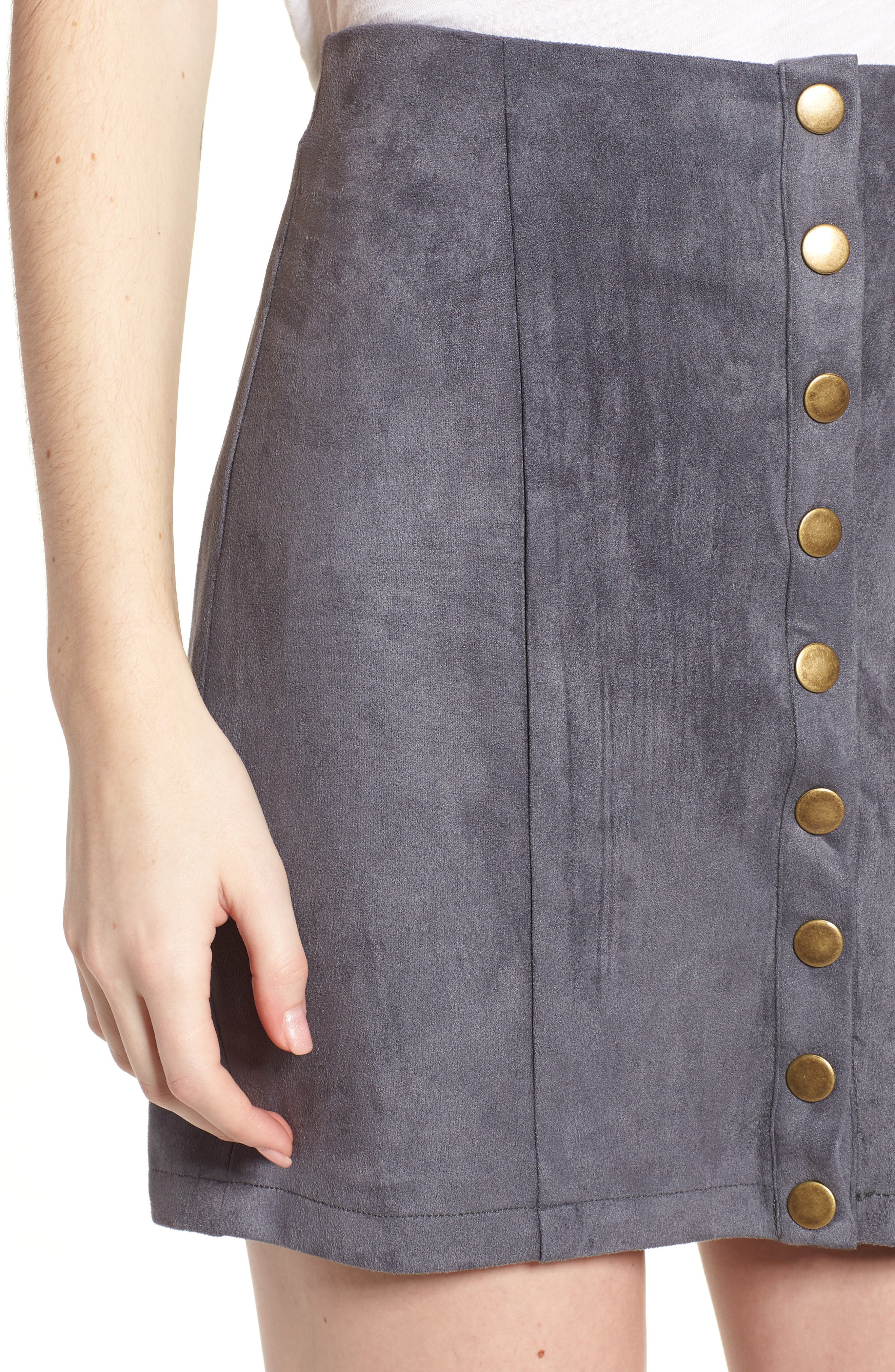 Bishop + Young Front Snap Faux Suede Miniskirt,                             Alternate thumbnail 4, color,                             Slate Blue