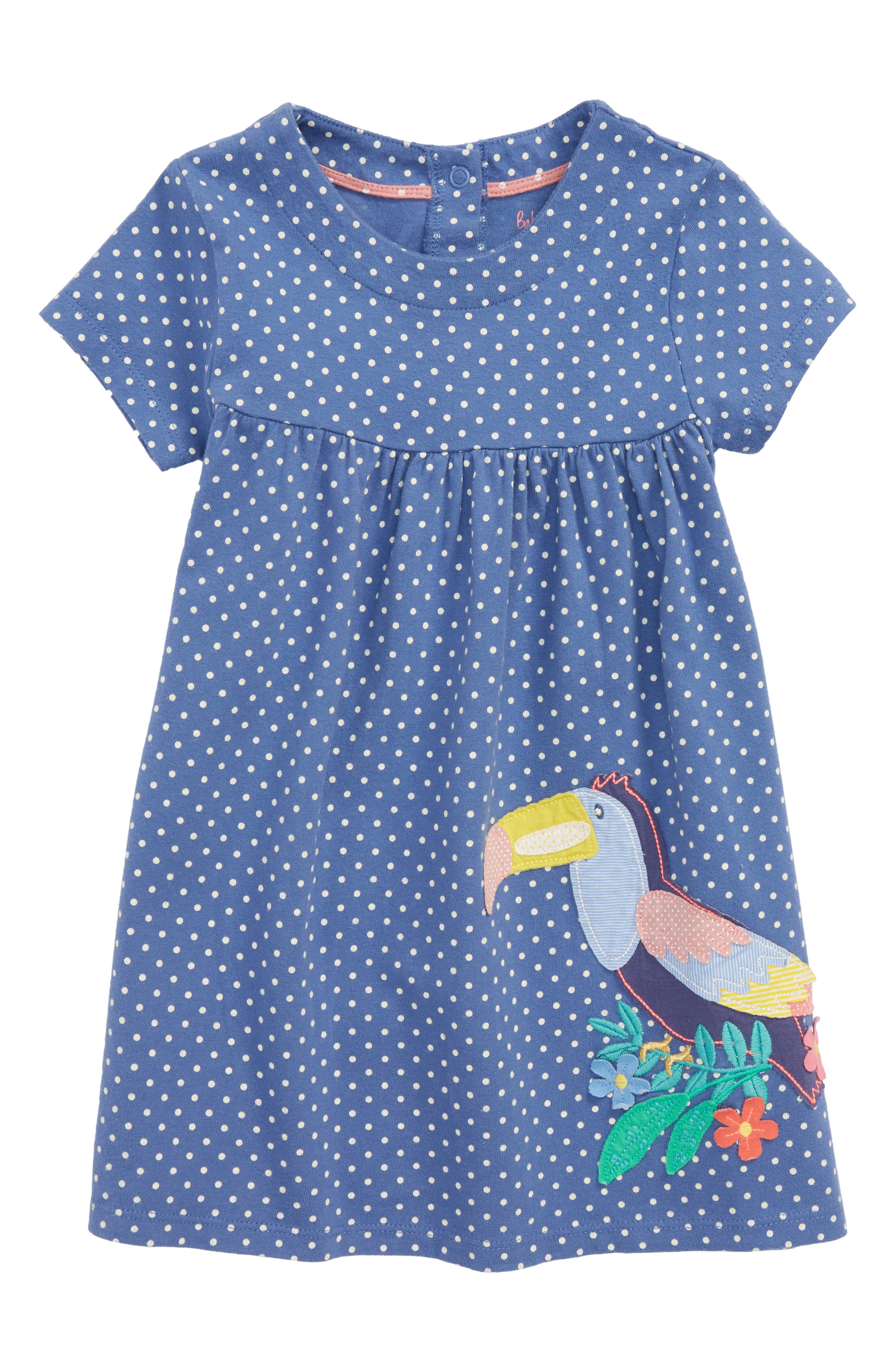 Mini Boden Big Appliqué Jersey Dress (Baby Girls)
