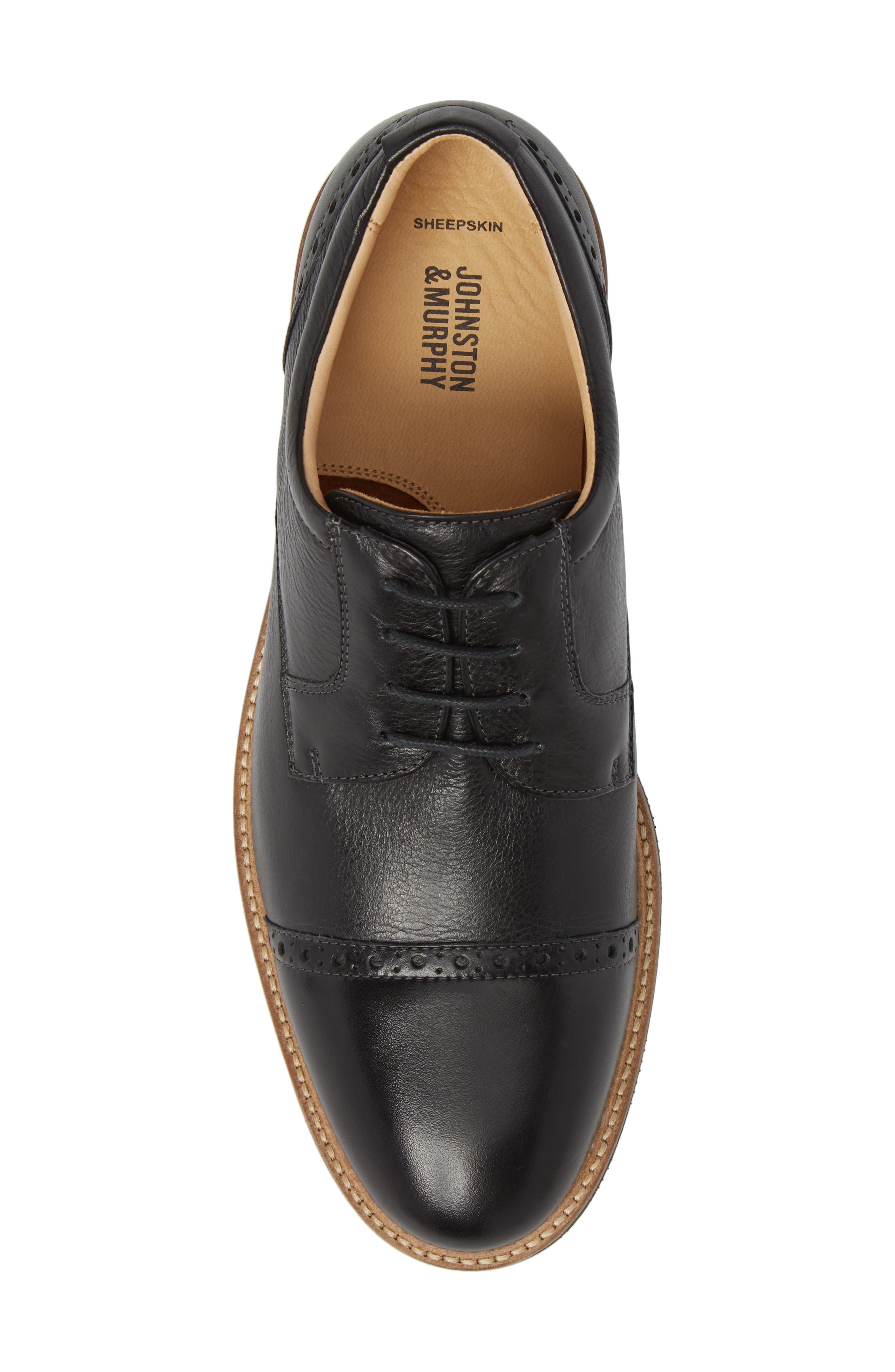 Barlow Cap Toe Derby,                             Alternate thumbnail 5, color,                             Black Leather