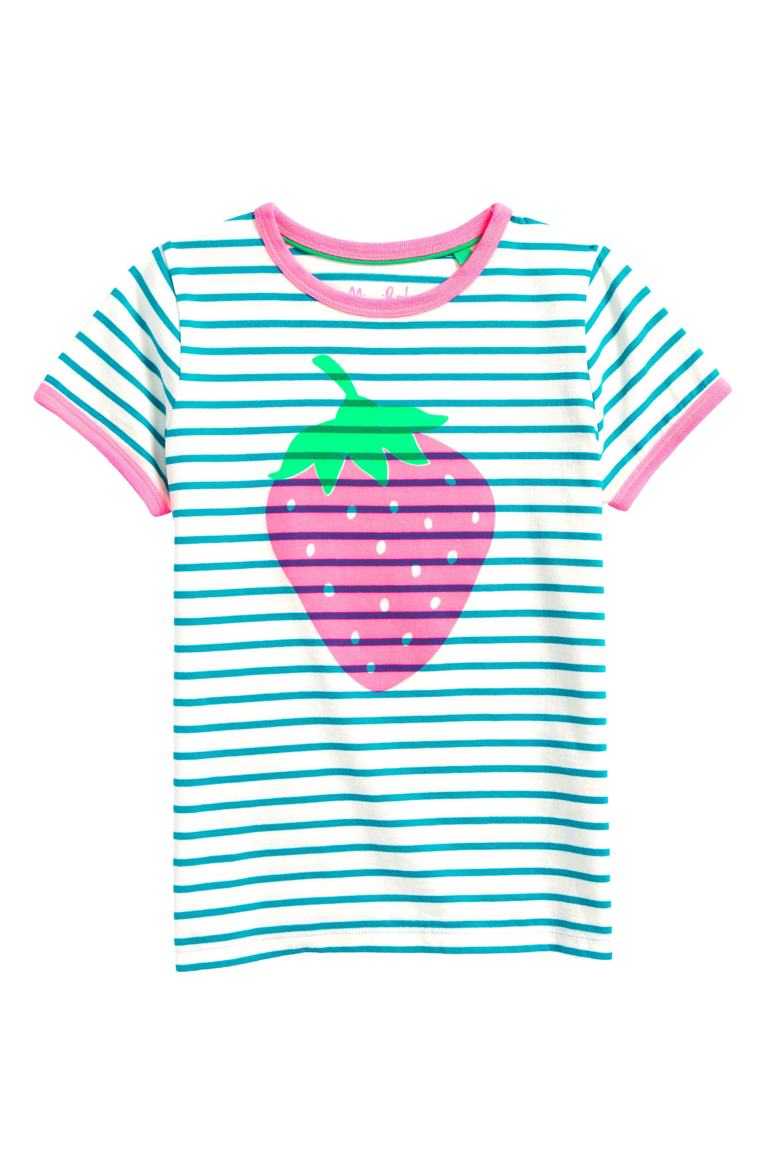 Mini Boden Bright Strawberry Tee (Toddler Girls, Little Girls & Big Girls)
