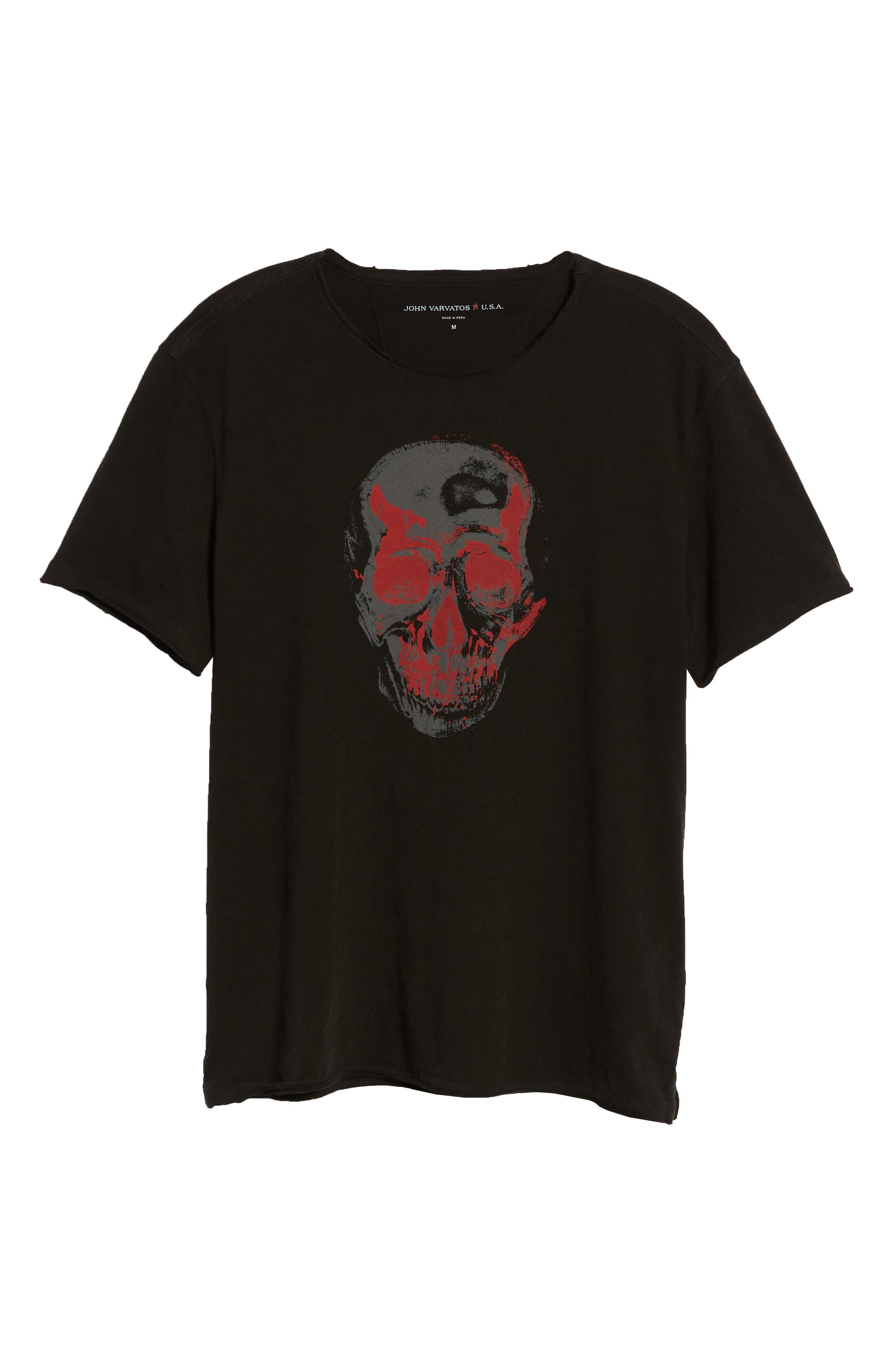 Skull Crewneck T-Shirt,                             Alternate thumbnail 6, color,                             Black