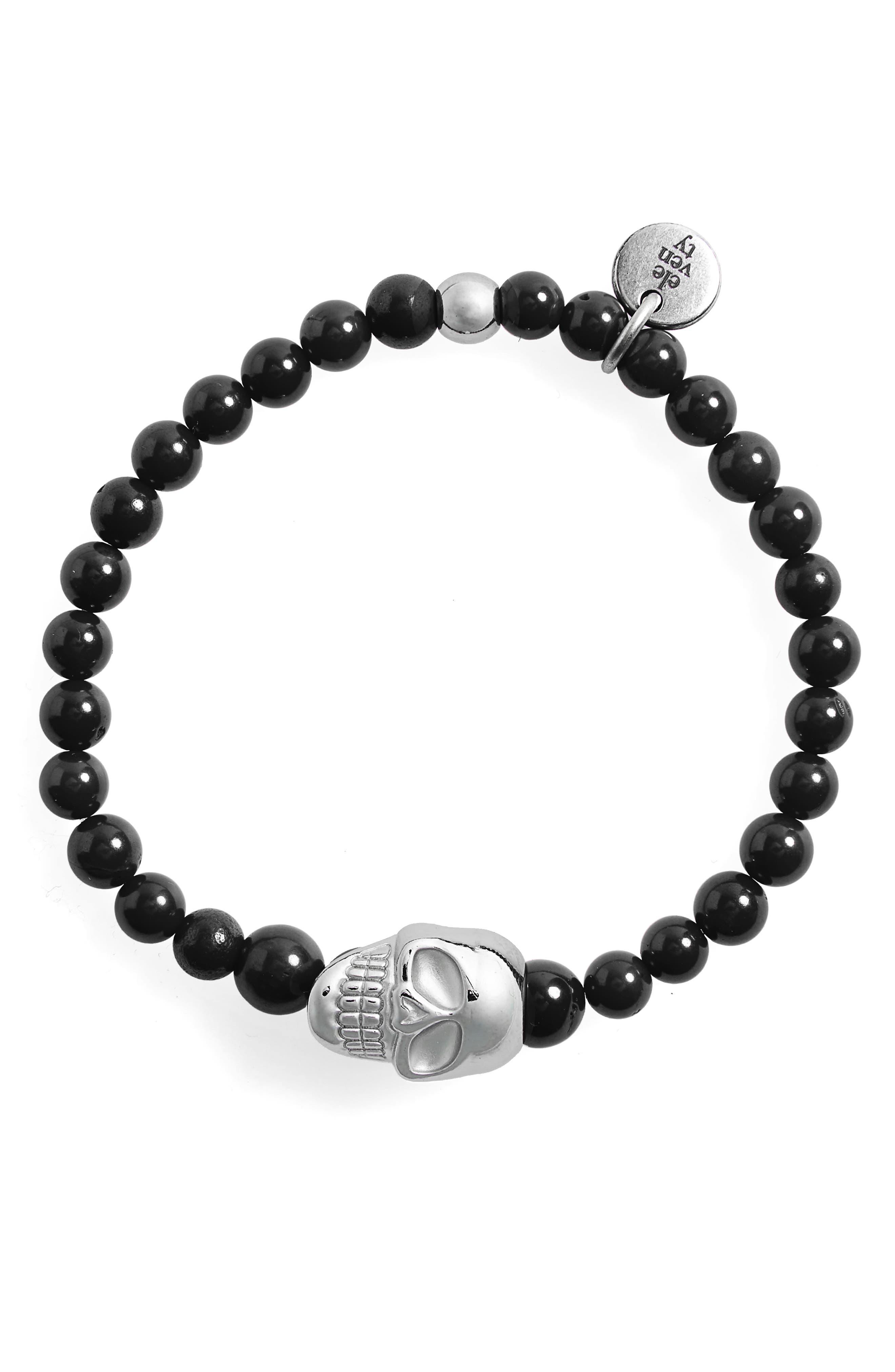 Eleventy Skull Bead Bracelet
