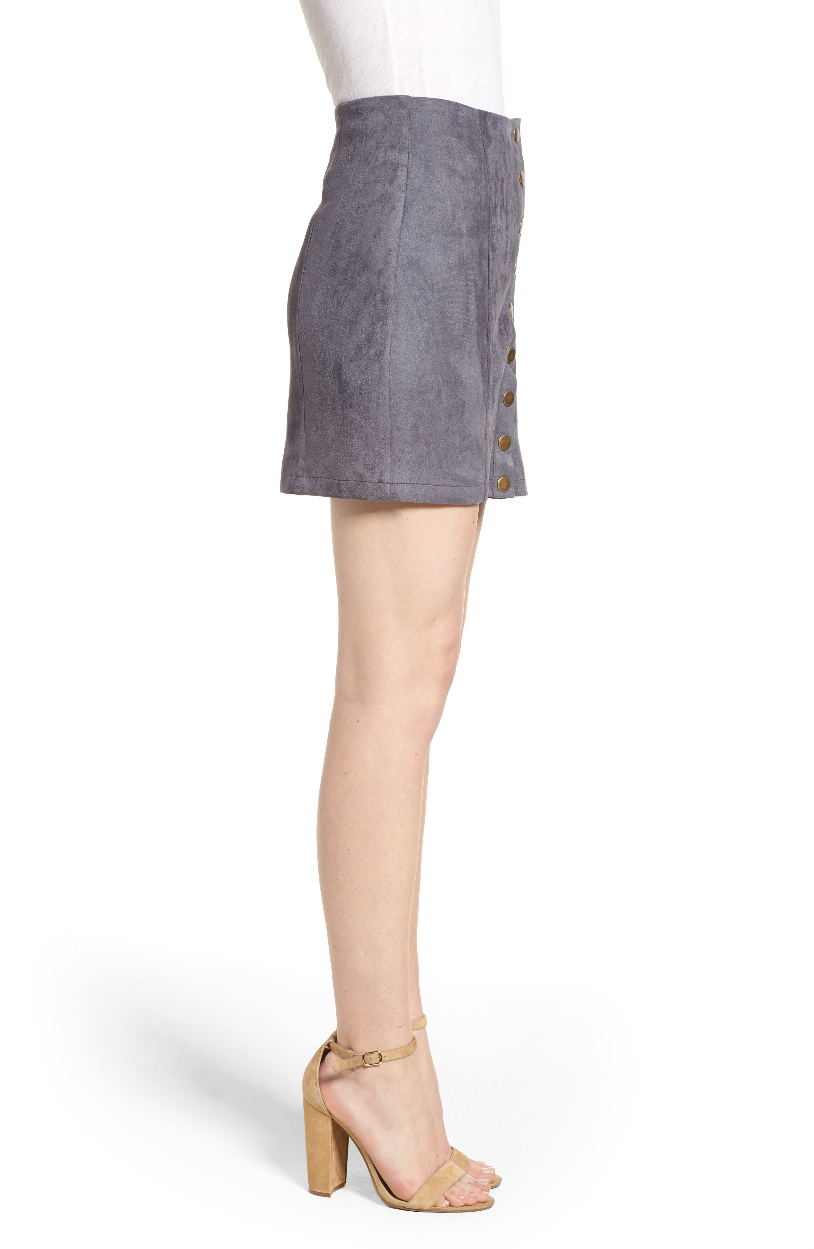 Bishop + Young Front Snap Faux Suede Miniskirt,                             Alternate thumbnail 3, color,                             Slate Blue
