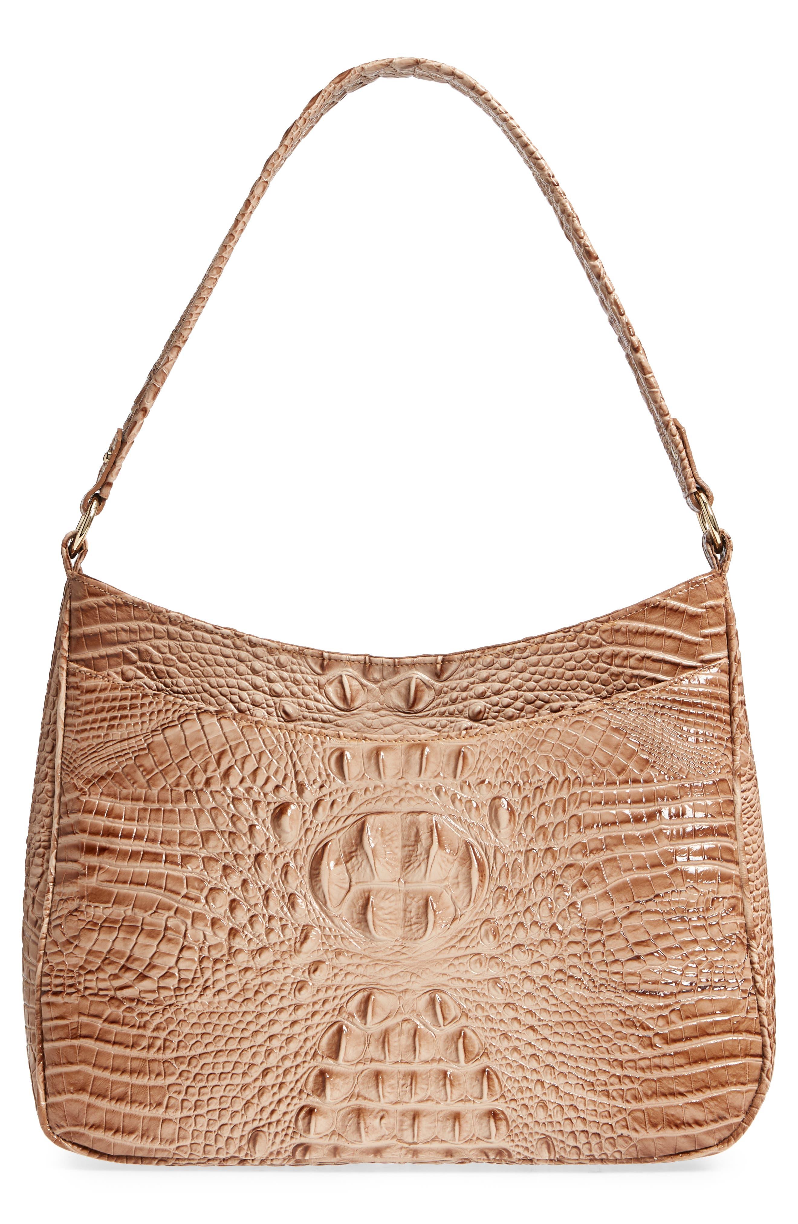 Nadia Croc Embossed Leather Shoulder Bag,                             Alternate thumbnail 3, color,                             Morel