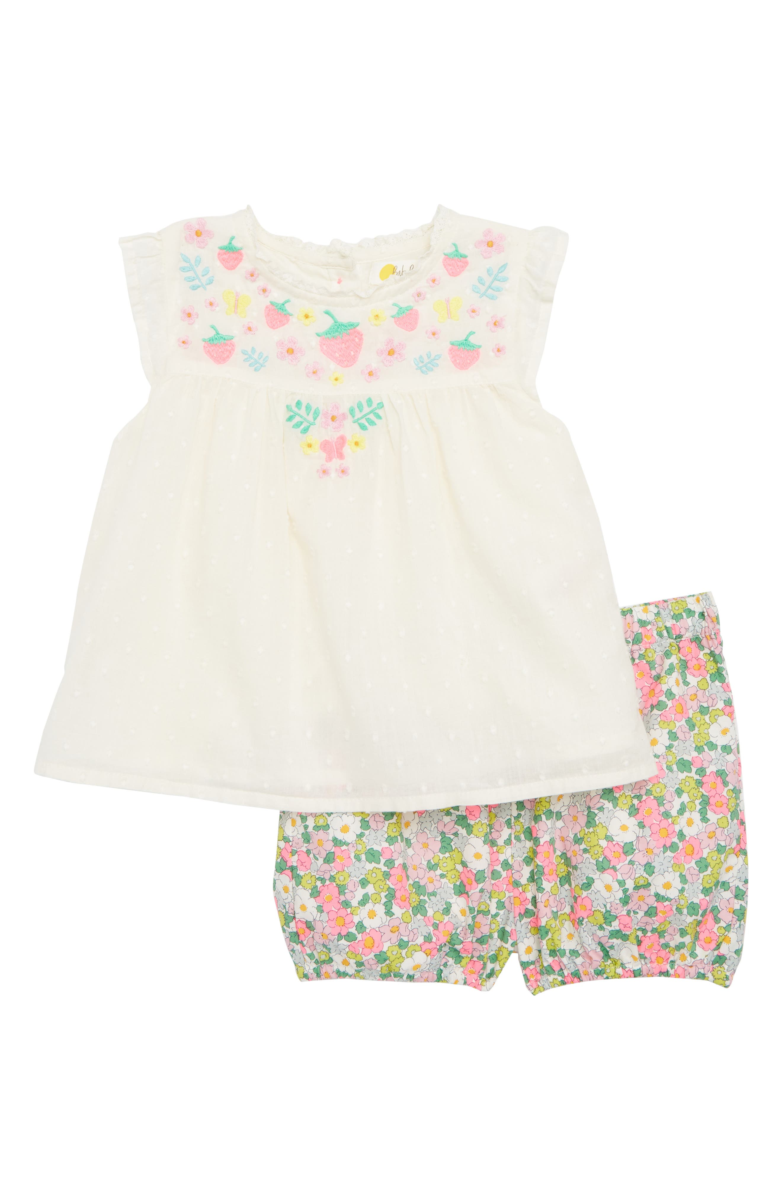 Sunny Days Top & Shorts Set,                             Main thumbnail 1, color,                             Ivory Embroidery