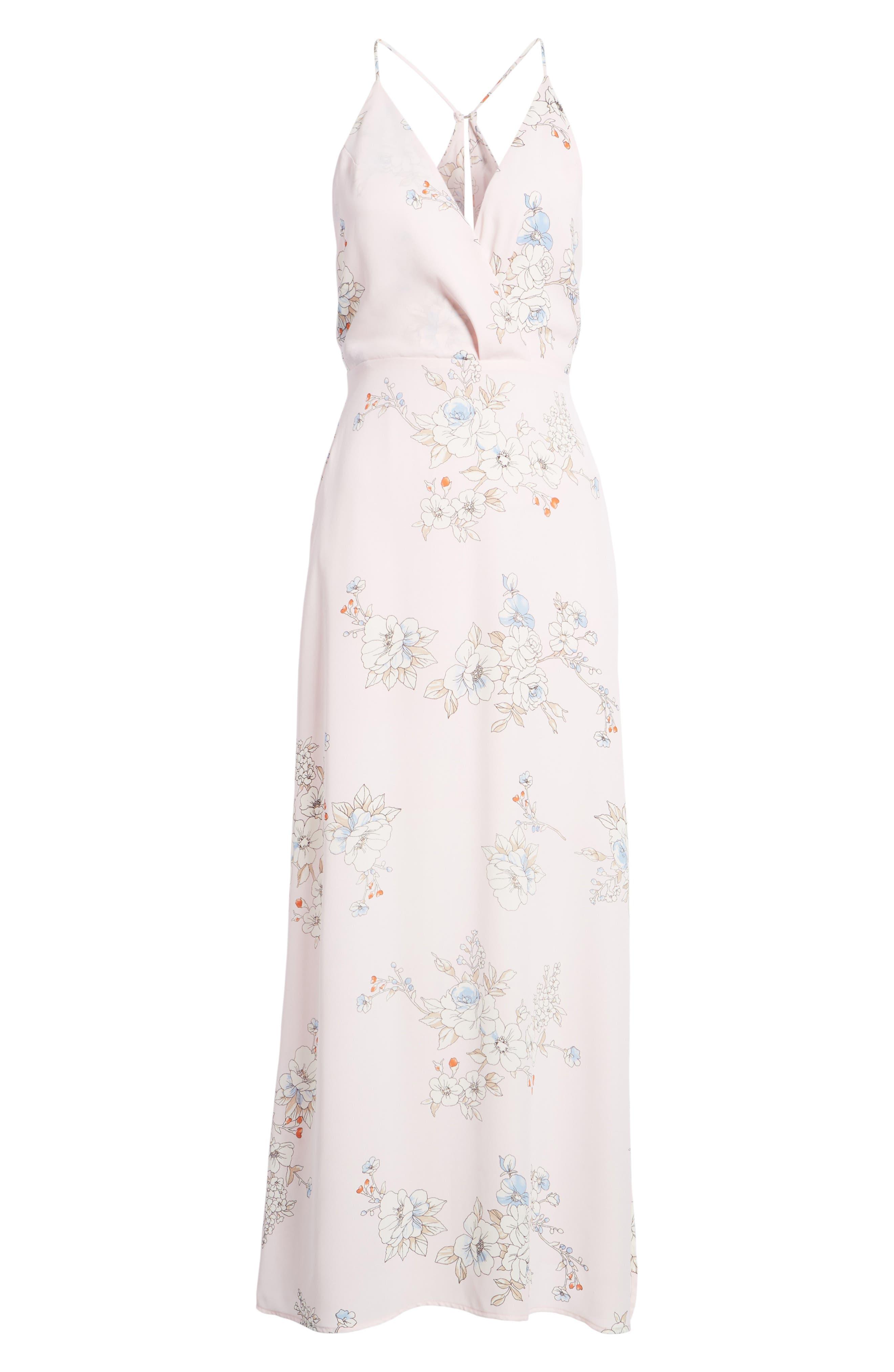 Surplice Maxi Dress,                             Alternate thumbnail 7, color,                             Pale Pink Floral