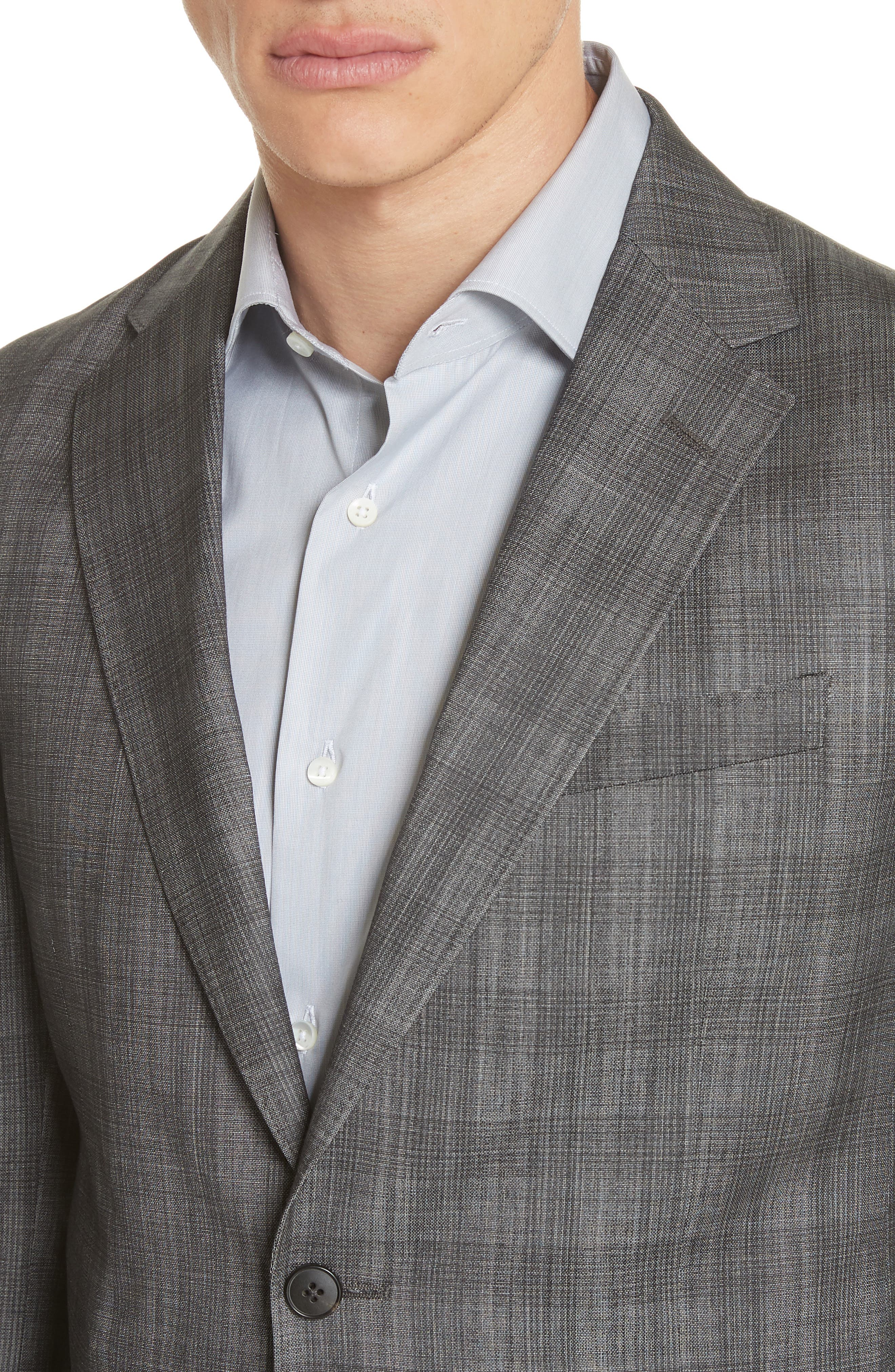 Classic Fit Plaid Wool & Silk Suit,                             Alternate thumbnail 4, color,                             Dark Grey Check