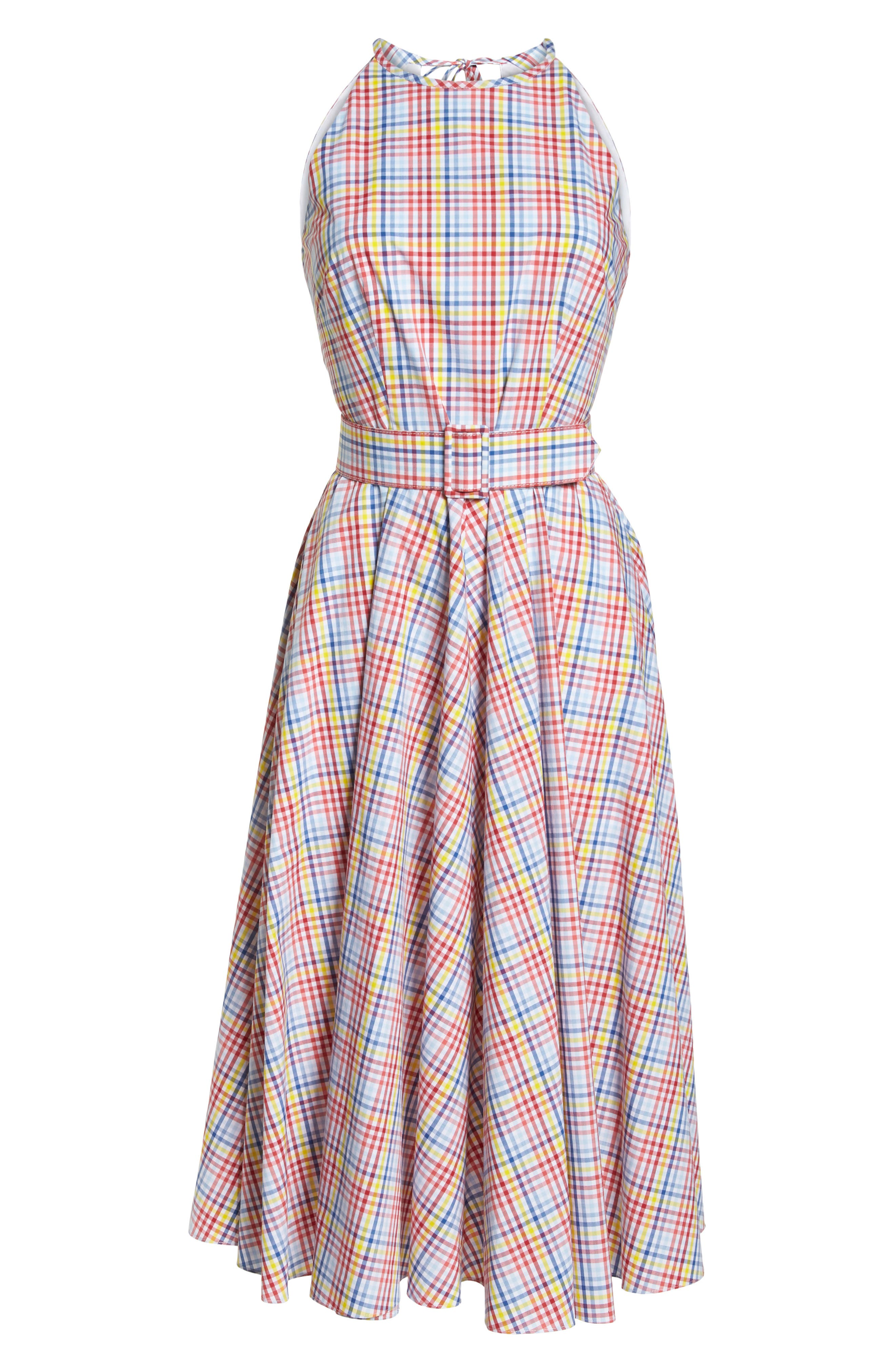 Halter Neck Belted Cotton Sundress,                             Alternate thumbnail 7, color,                             Red/ Yellow