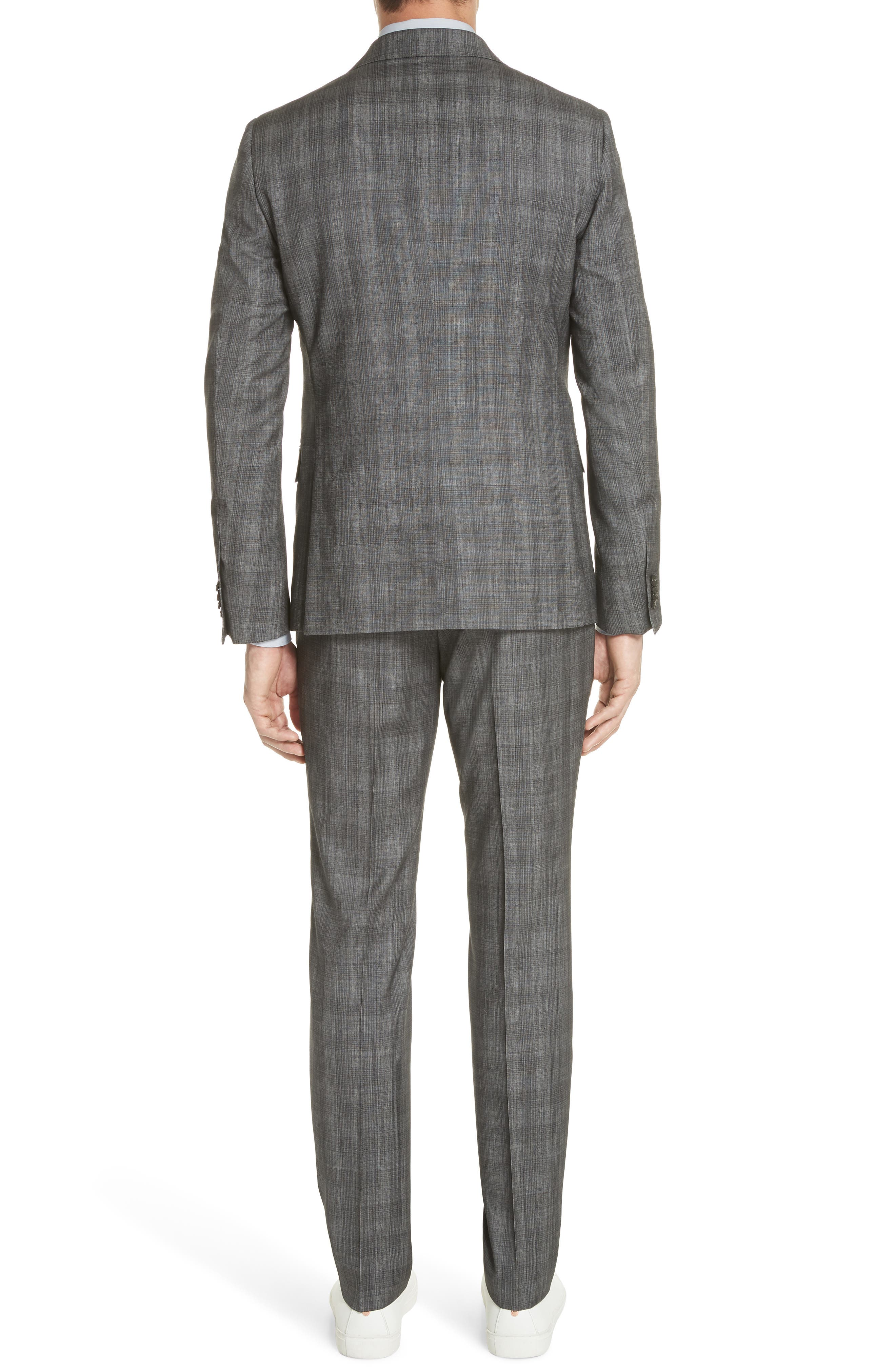 Classic Fit Plaid Wool & Silk Suit,                             Alternate thumbnail 2, color,                             Dark Grey Check