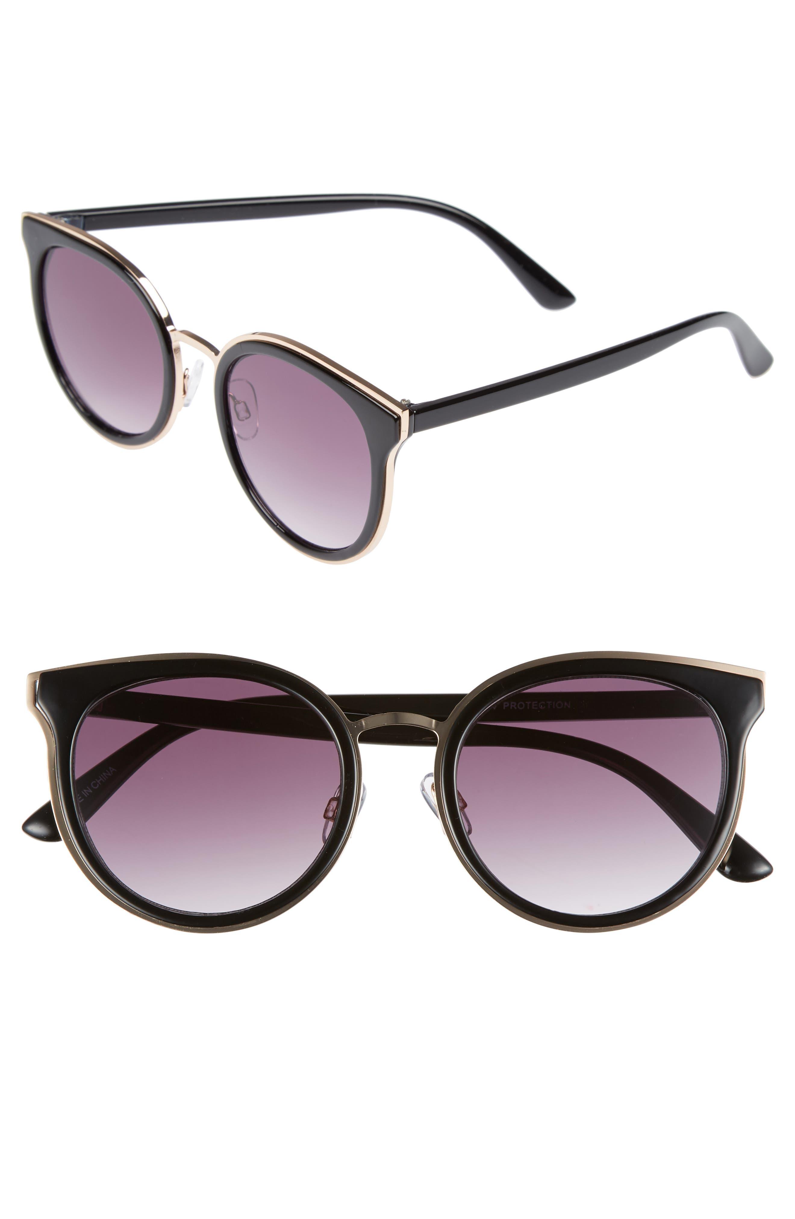 59mm Round Sunglasses,                             Main thumbnail 1, color,                             Gold/ Black