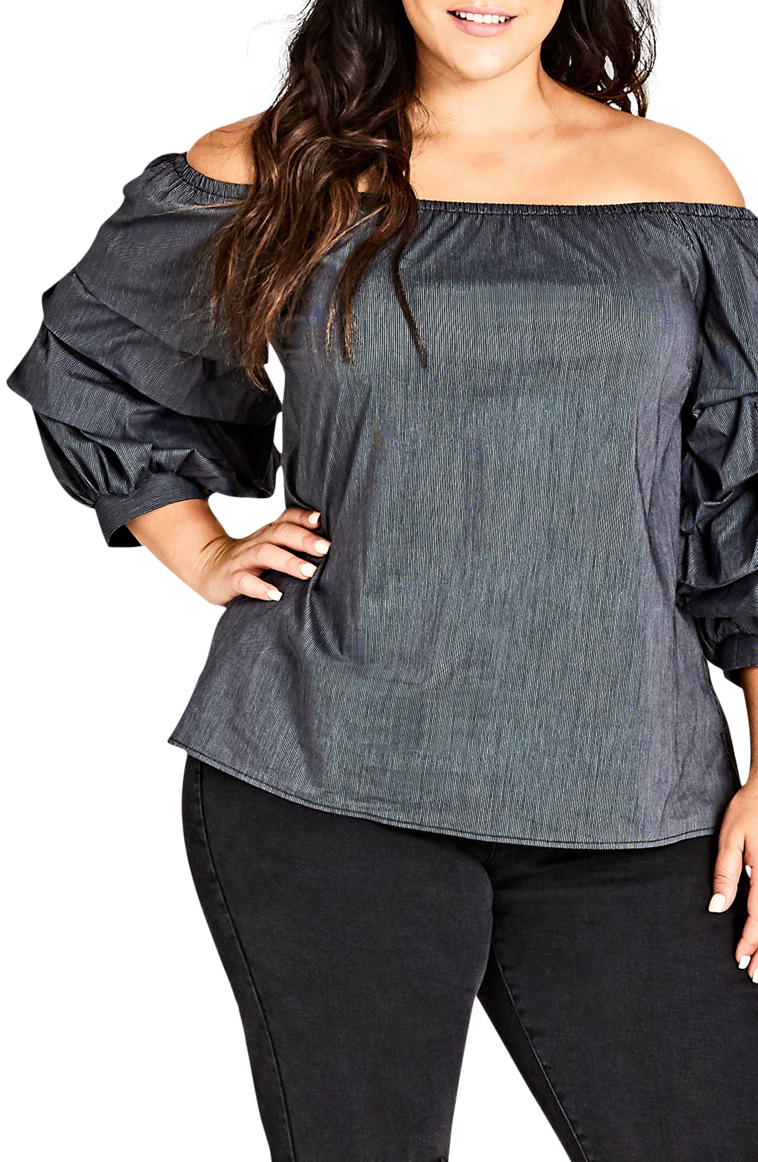 Fancy Sleeve Off the Shoulder Cotton Blend Top,                             Main thumbnail 1, color,                             Black Stripe