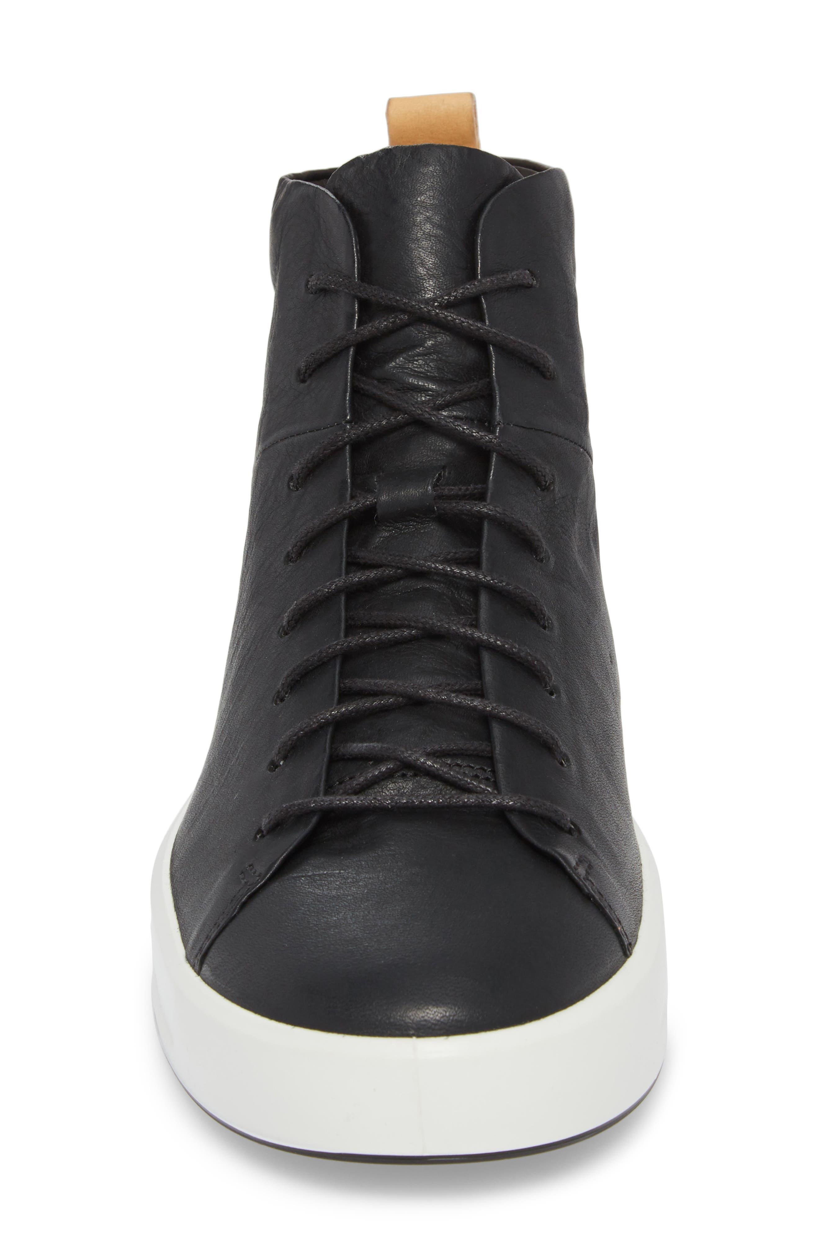 Soft 8 Sneaker,                             Alternate thumbnail 4, color,                             Black/Black Leather