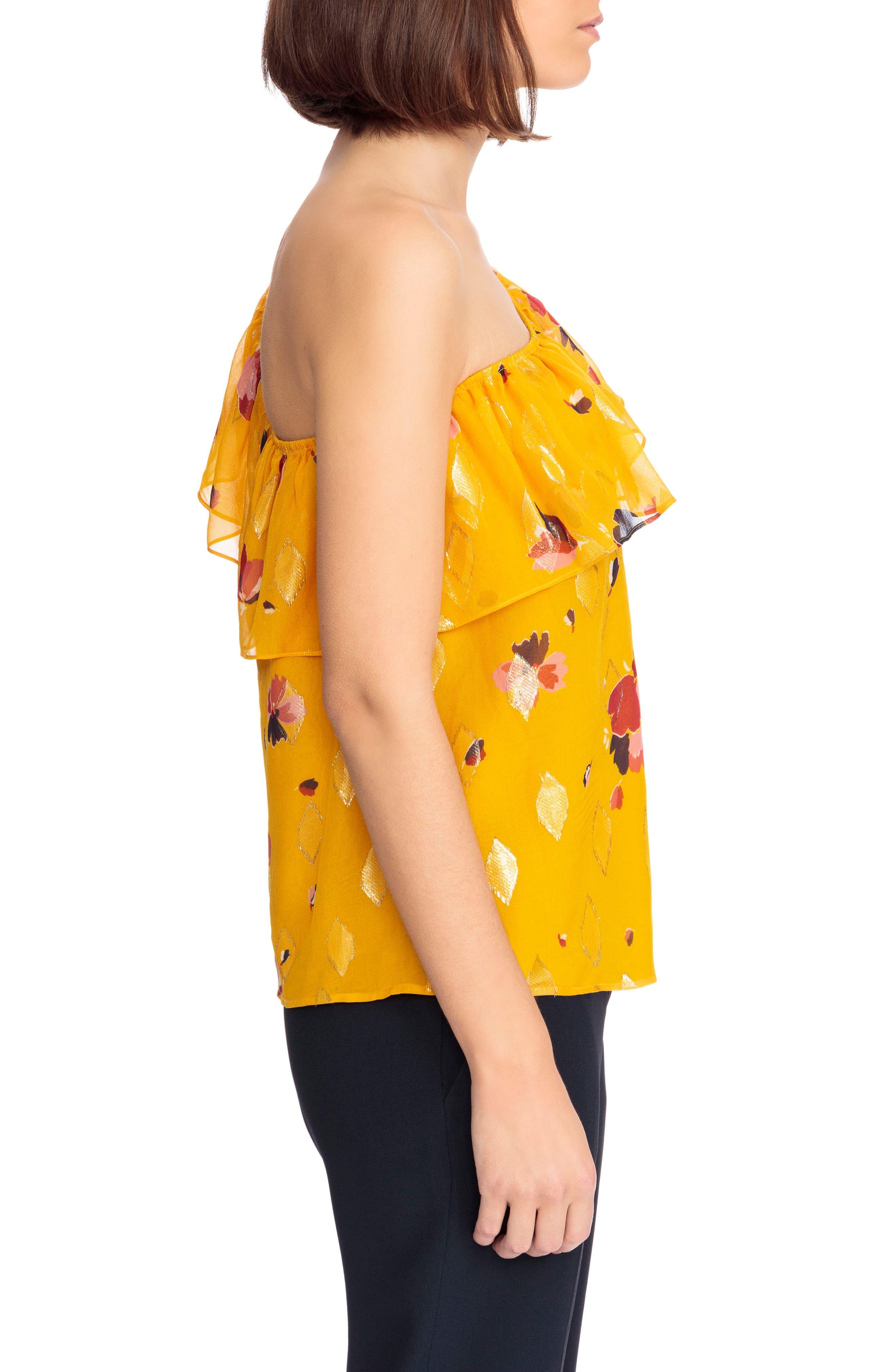 Adelie Ruffle One-Shoulder Metallic Silk Blouse,                             Alternate thumbnail 3, color,                             Big Flowers 60S On Saffron