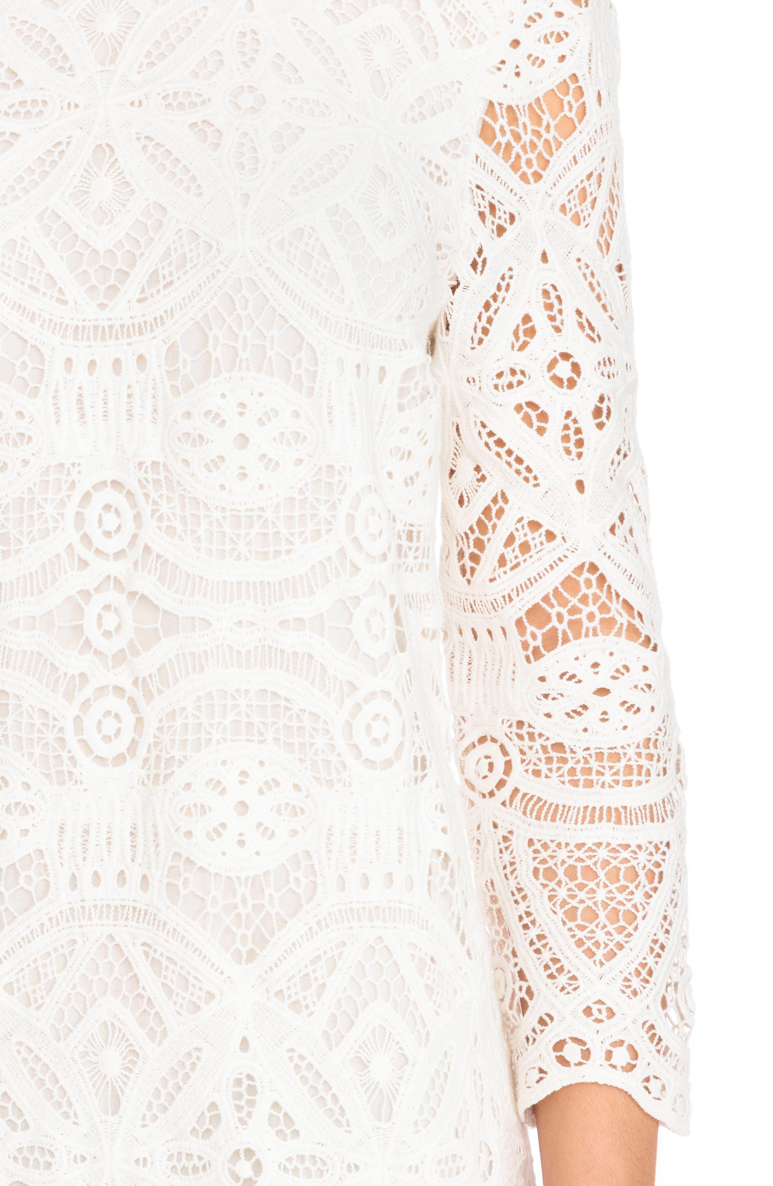 Sarah Lace Shift Dress,                             Alternate thumbnail 5, color,                             Off White