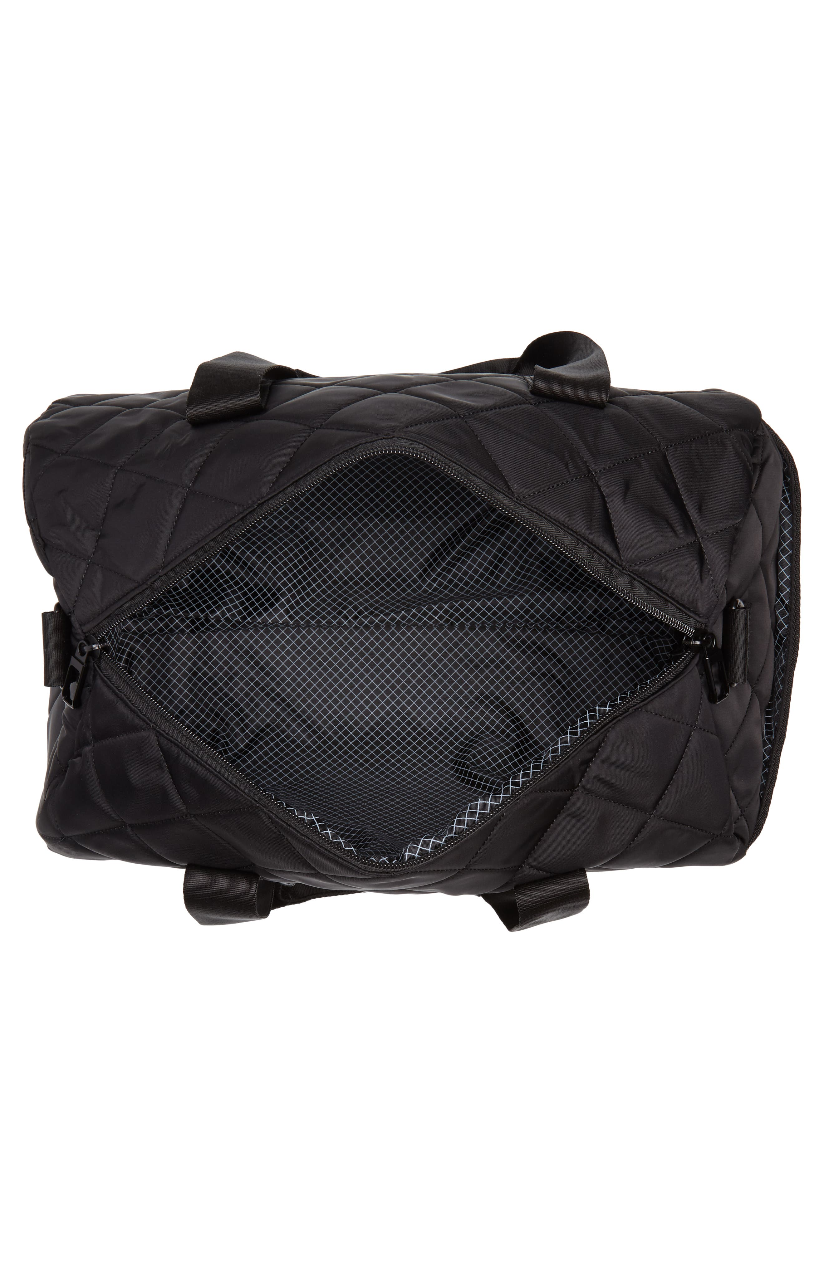 Roadie Small Duffel Bag,                             Alternate thumbnail 4, color,                             Quilted Black Nylon