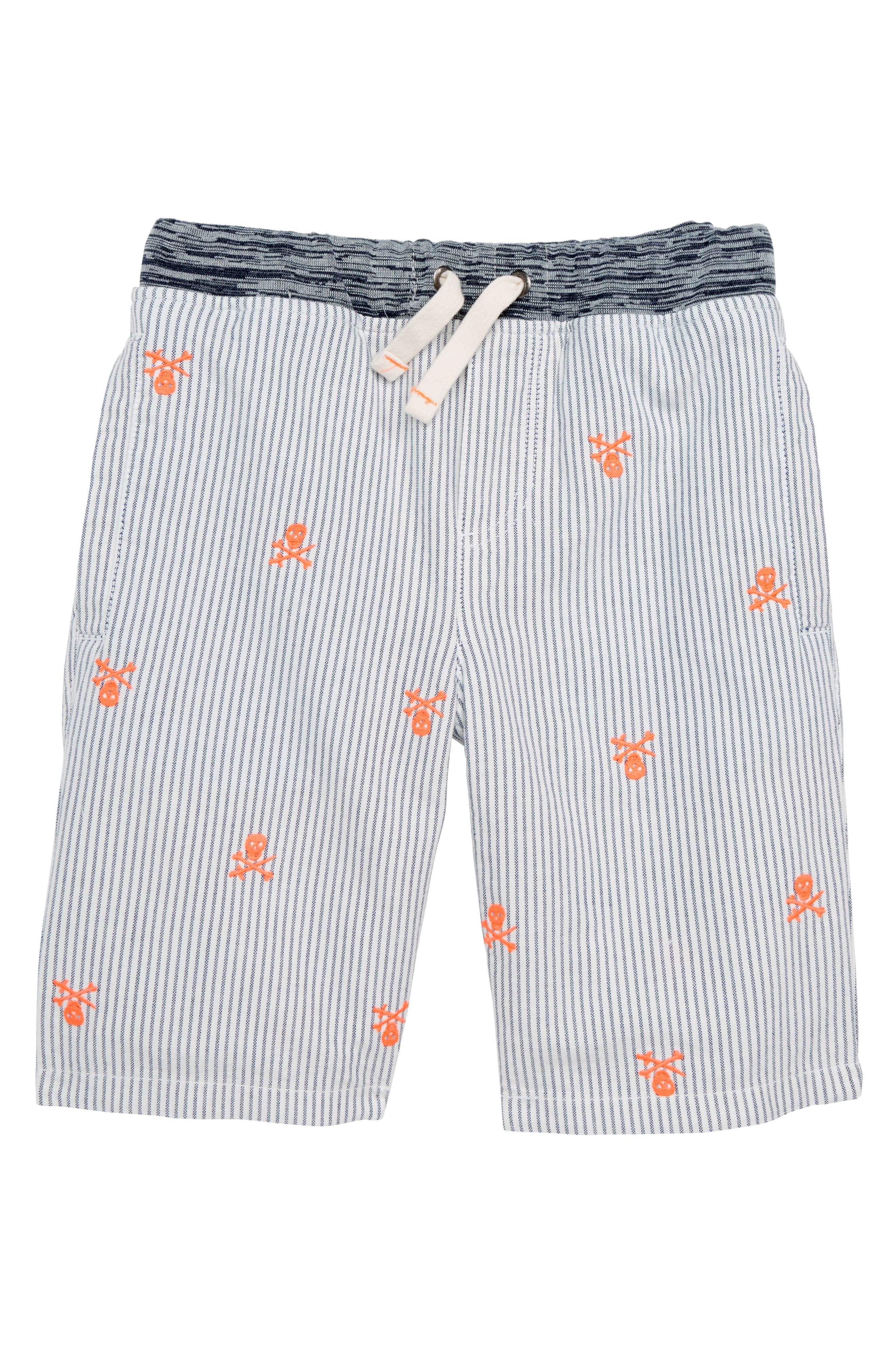 Rib Waist Shorts,                             Main thumbnail 1, color,                             Beacon Blue/ Ecru Skulls