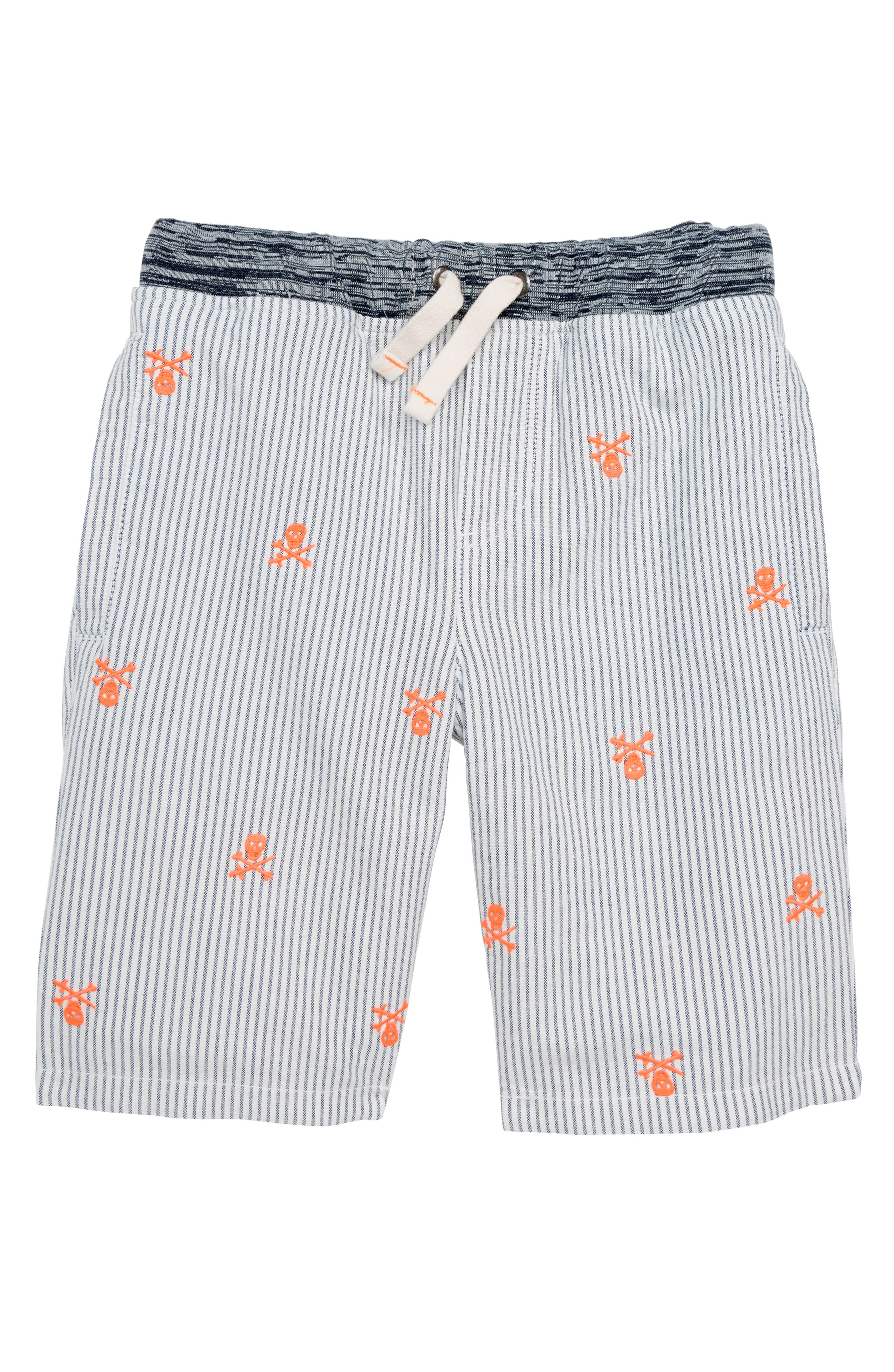 Rib Waist Shorts,                         Main,                         color, Beacon Blue/ Ecru Skulls