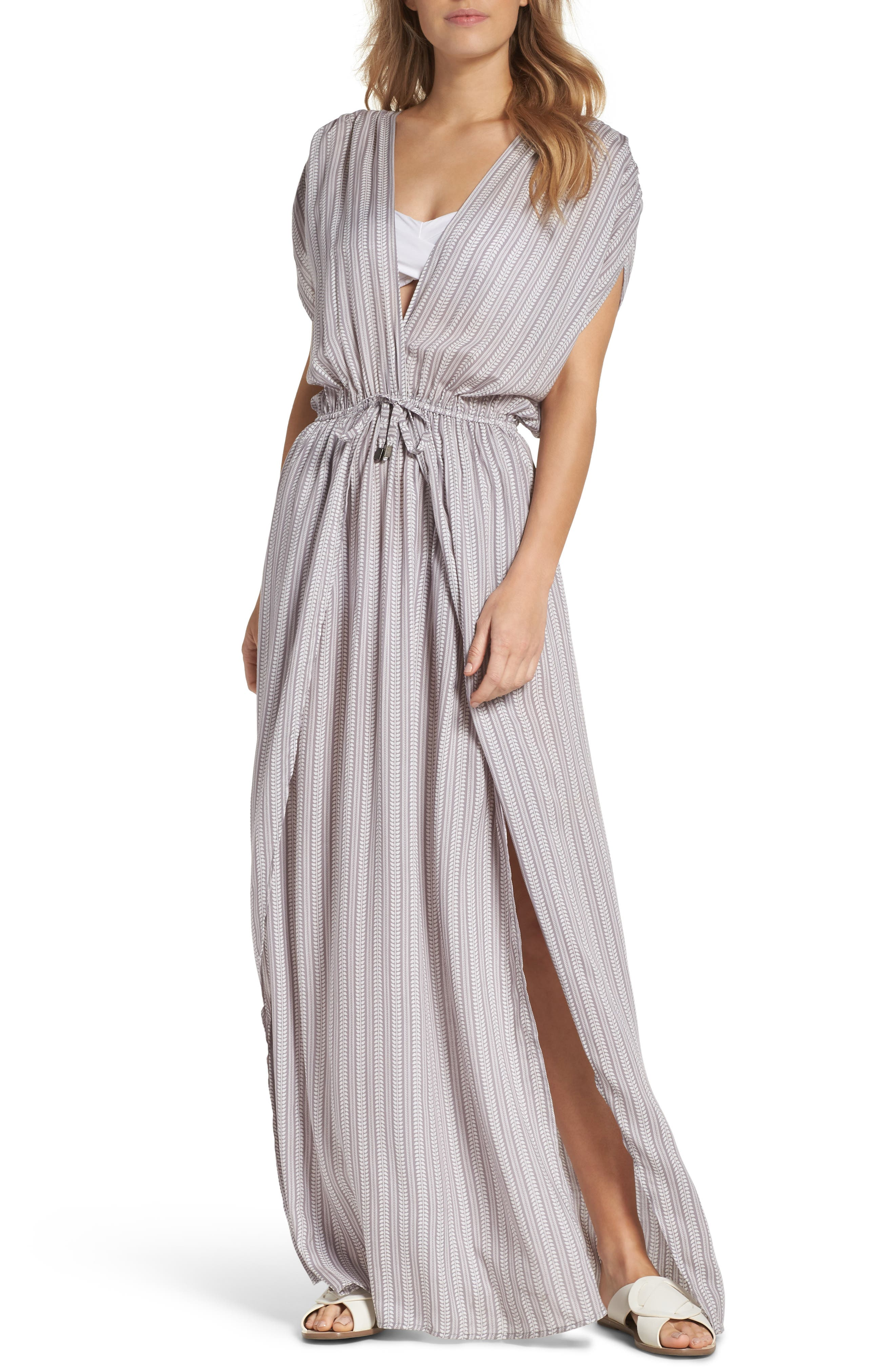 Wrap Maxi Cover-Up Dress,                             Main thumbnail 1, color,                             Makoto Grey