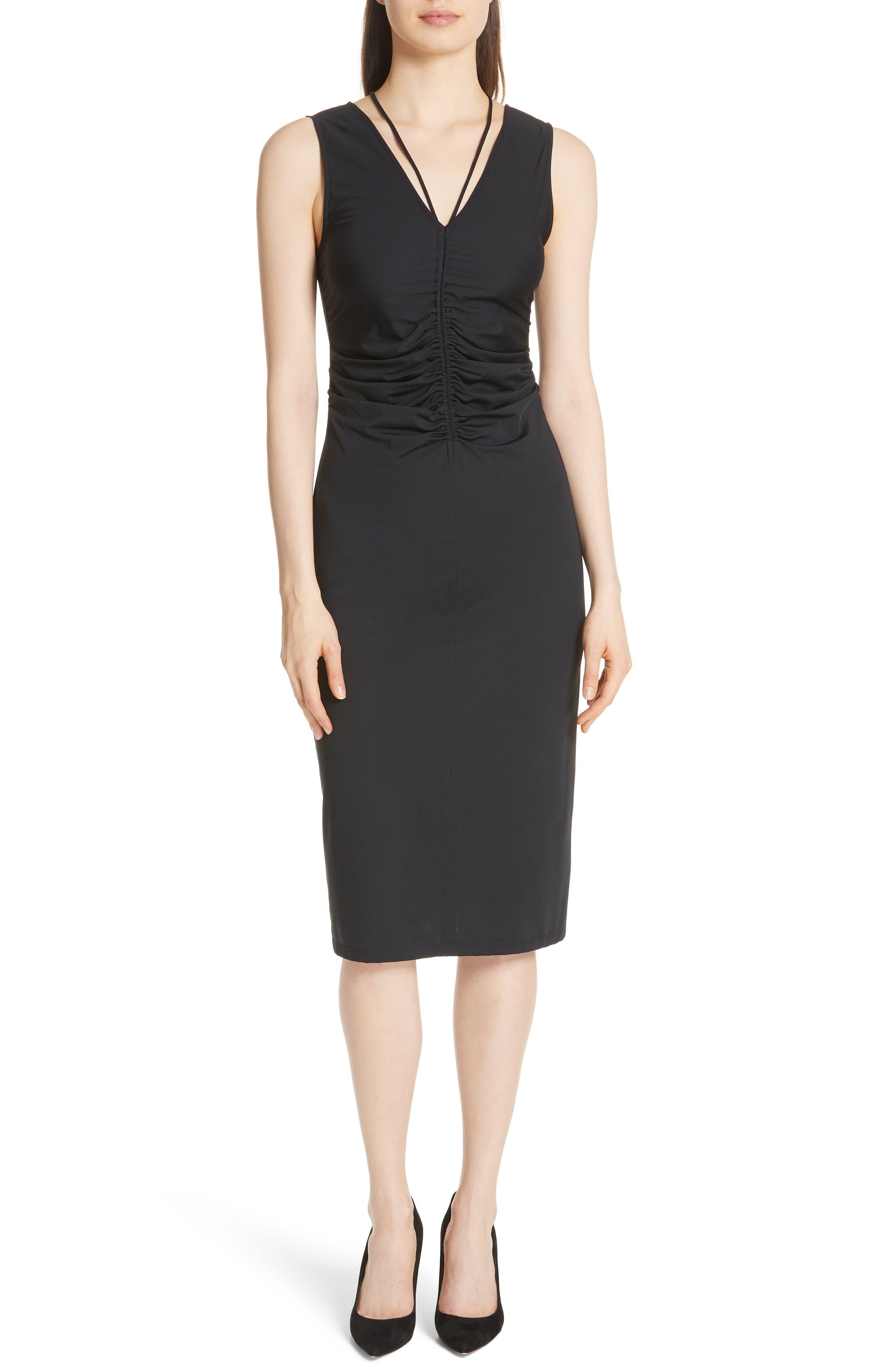 Ruched Tie Travel Midi Dress,                             Main thumbnail 1, color,                             Black