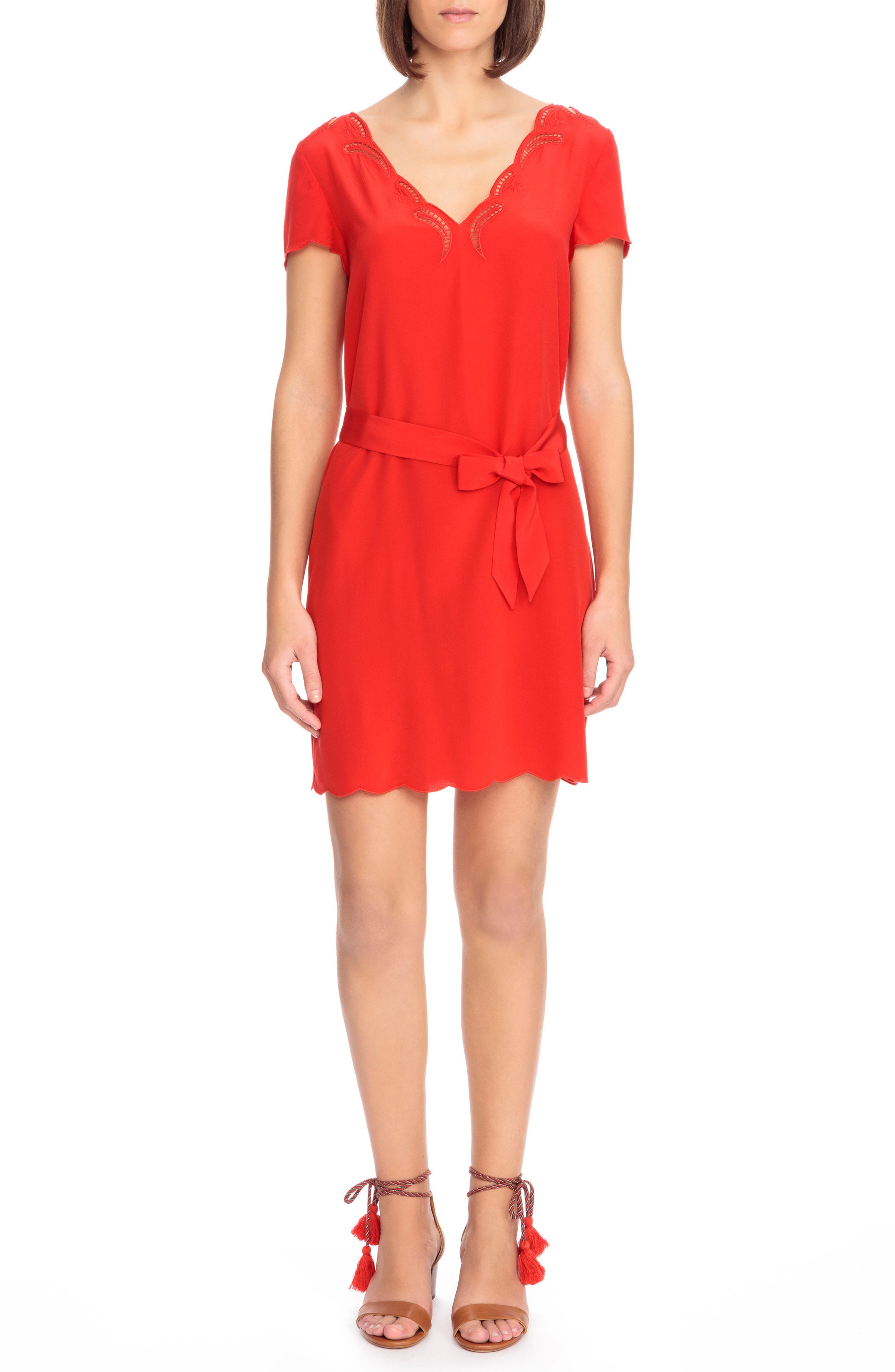 Anabella Belted Silk Dress,                         Main,                         color, Coral Red