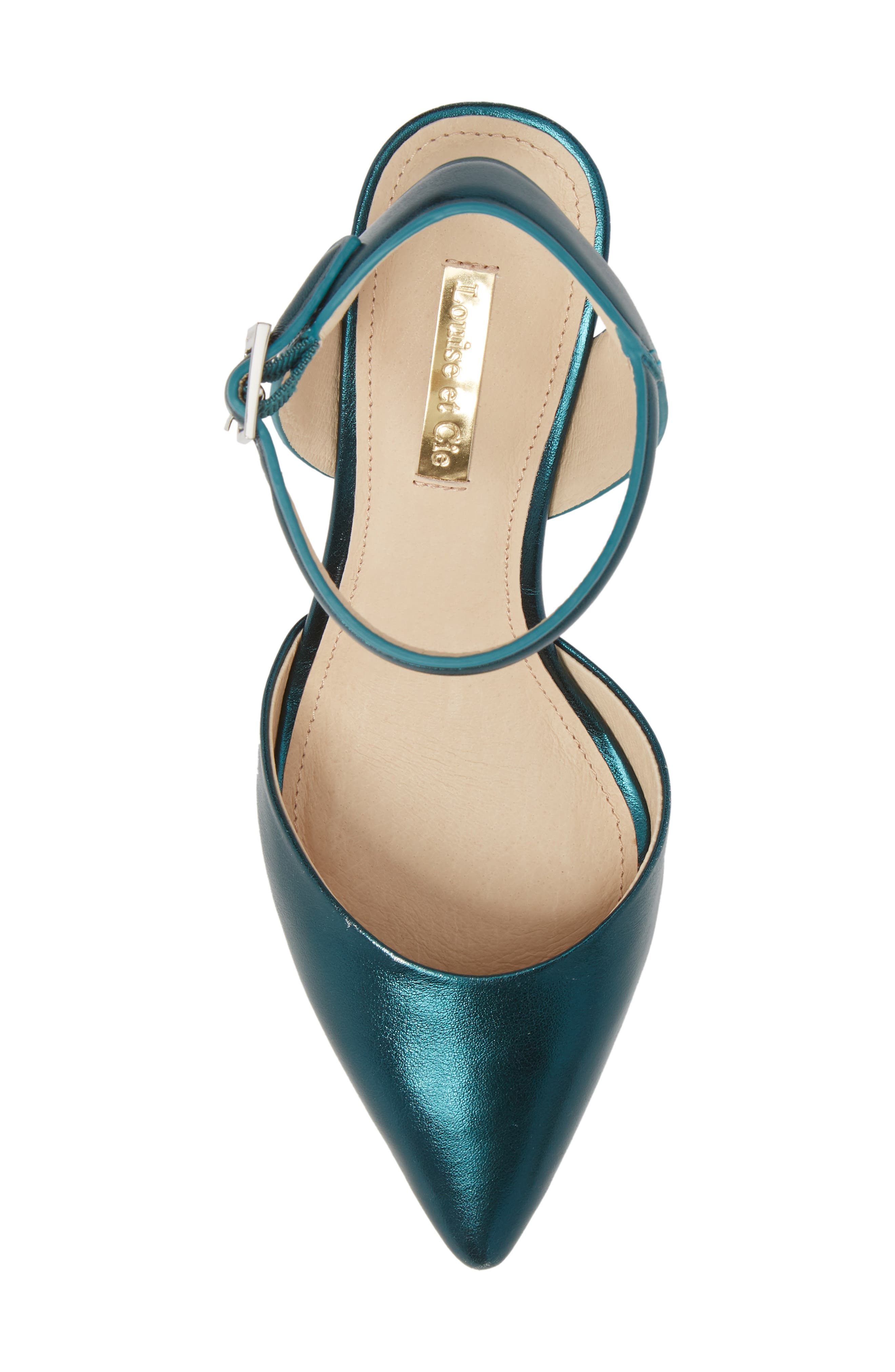 Kota Ankle Strap Pump,                             Alternate thumbnail 5, color,                             Teal Metallic Leather