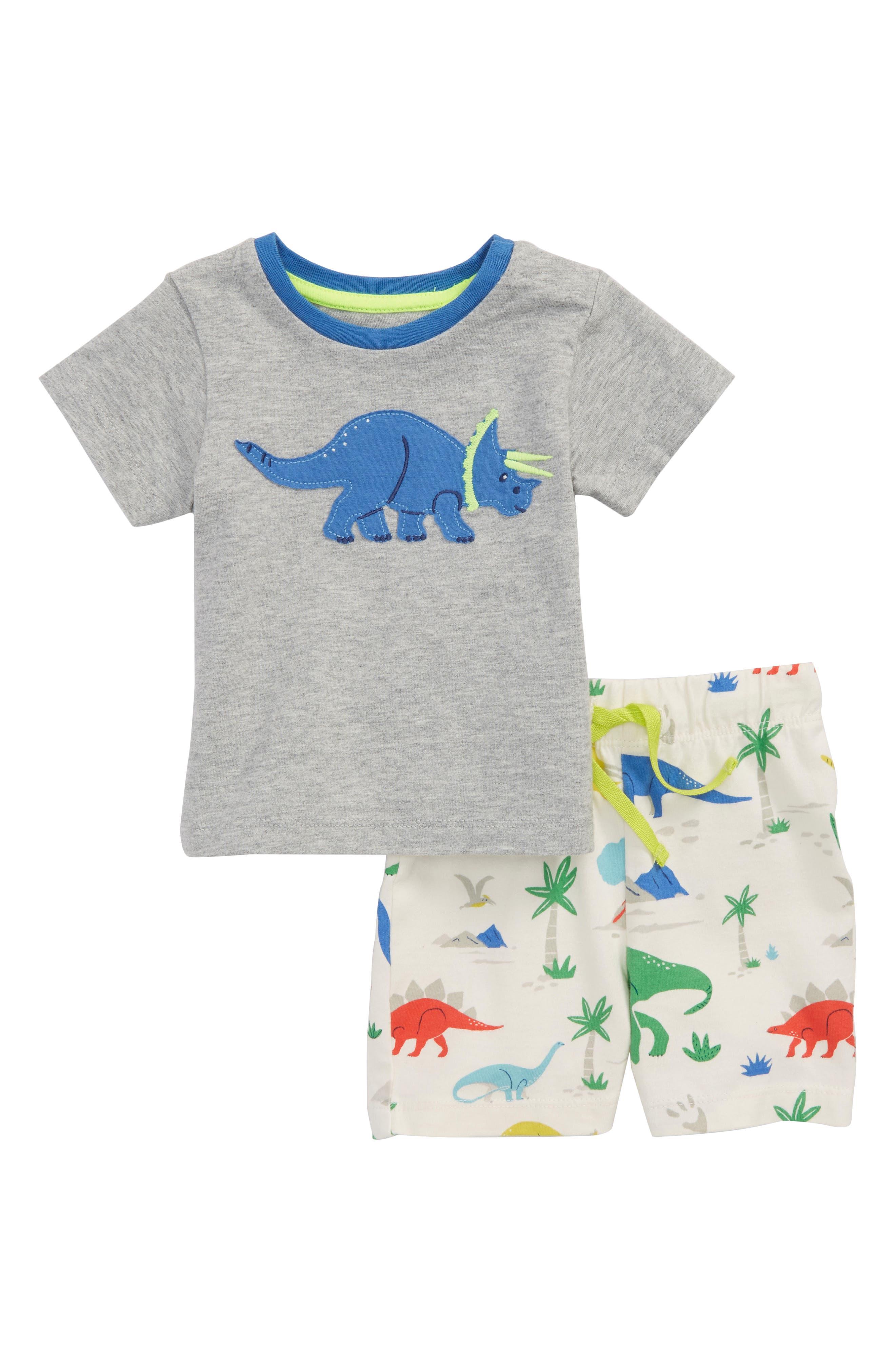 Mini Boden Dino Appliqué T-Shirt & Shorts Set (Baby Boys)