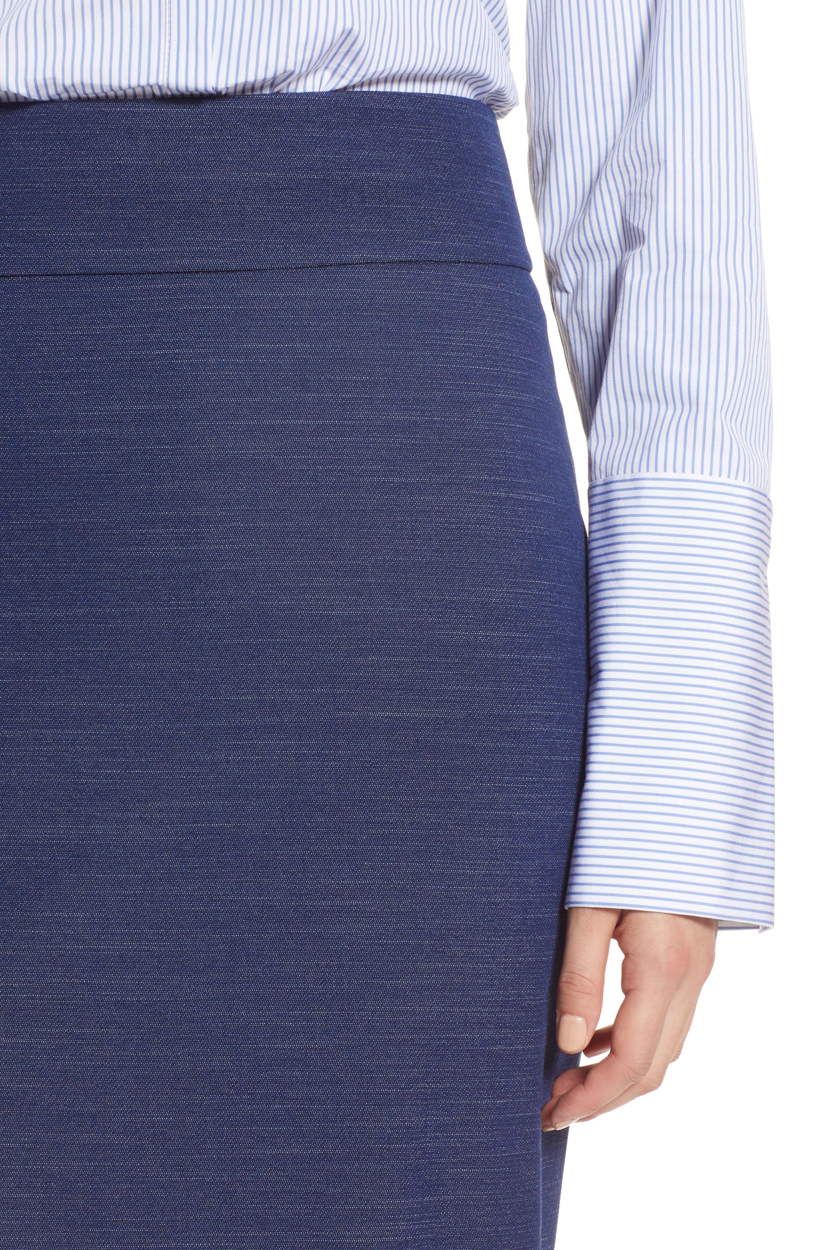 High Waist Chambray Skirt,                             Alternate thumbnail 4, color,                             Dark Chambray