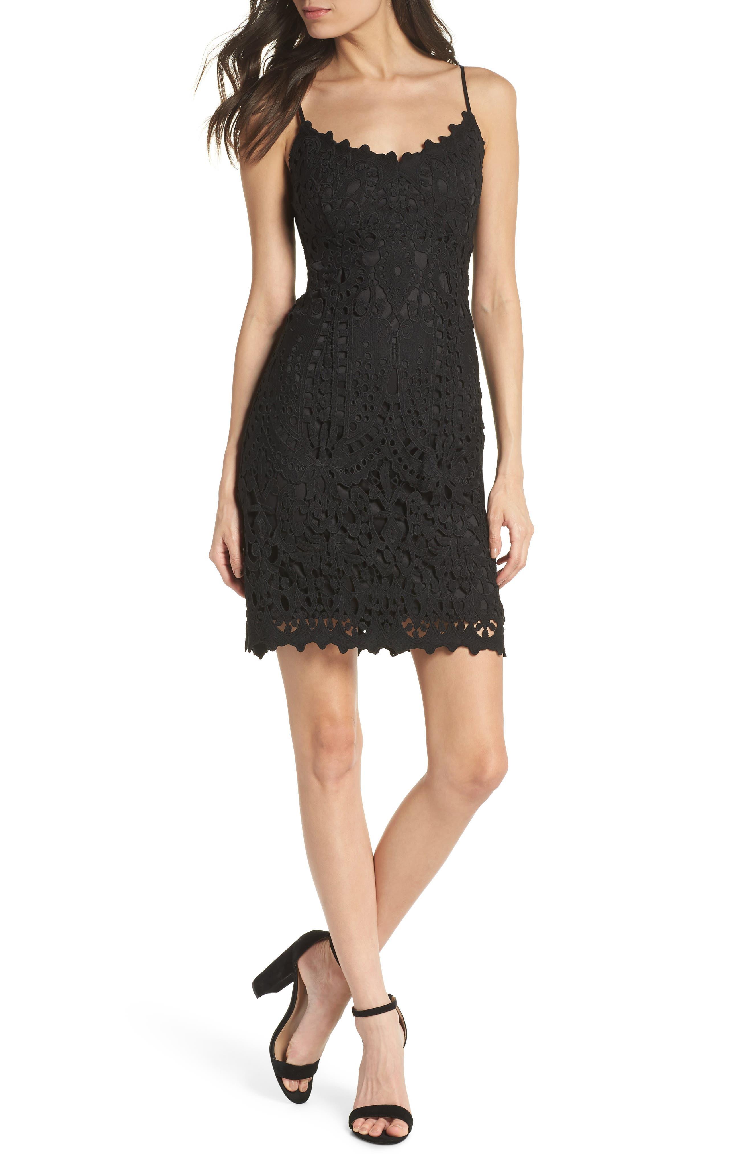Natalie Crochet Lace Minidress,                             Main thumbnail 1, color,                             Black