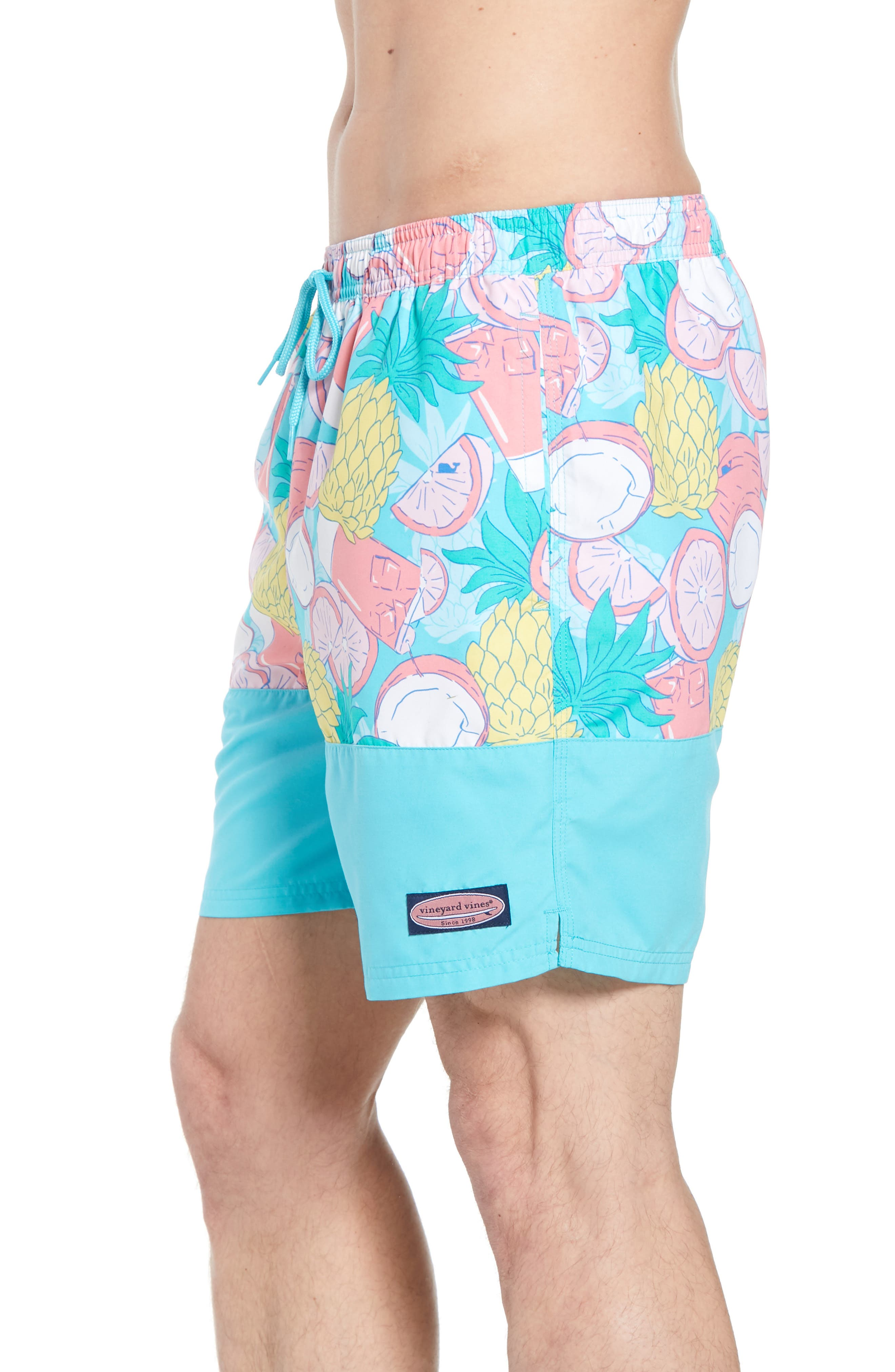 Chappy Pieced Bahama Mama Swim Trunks,                             Alternate thumbnail 3, color,                             Turquoise