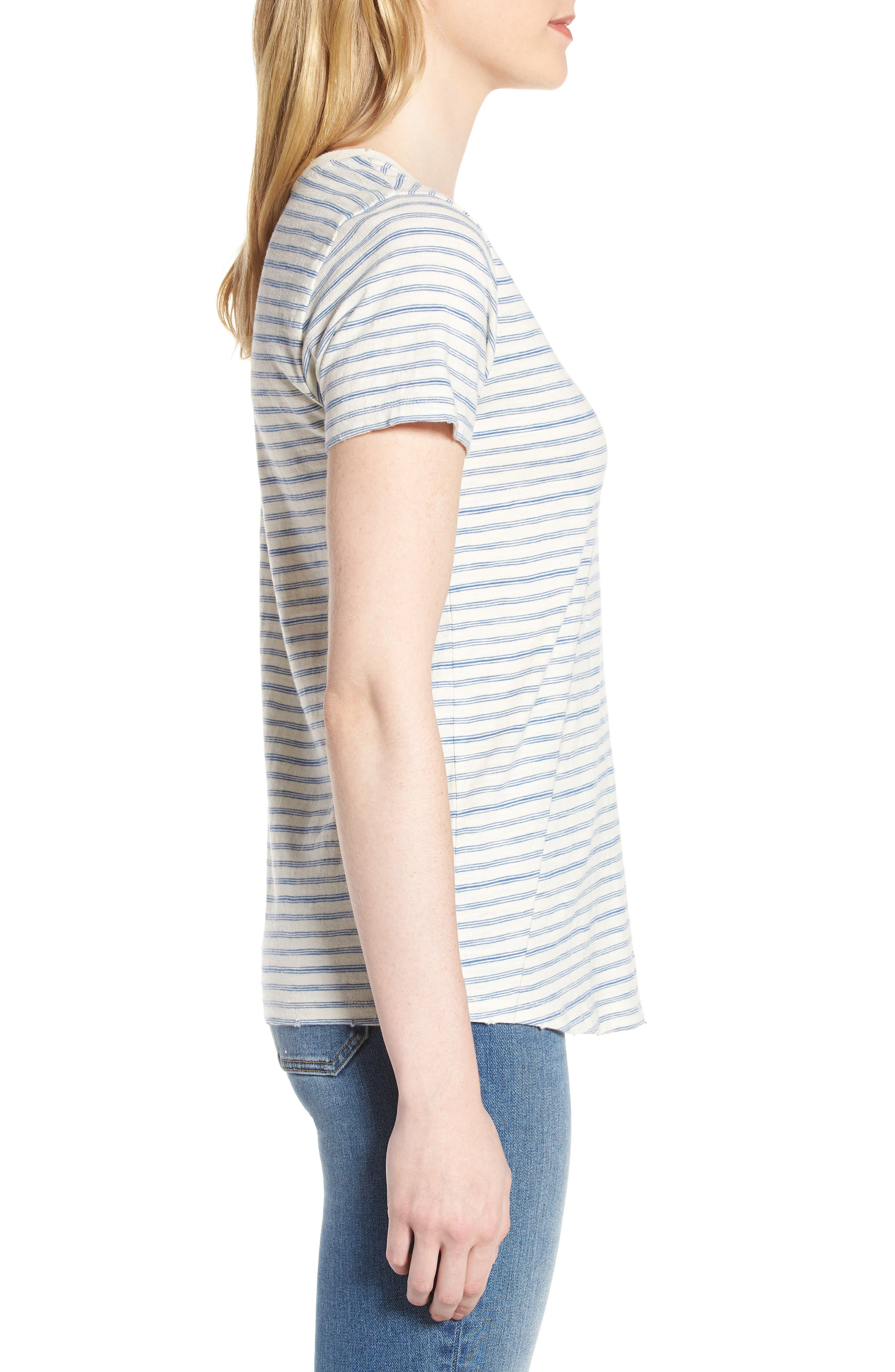 Lace-Up Shoulder Stripe Tee,                             Alternate thumbnail 3, color,                             Blue Multi