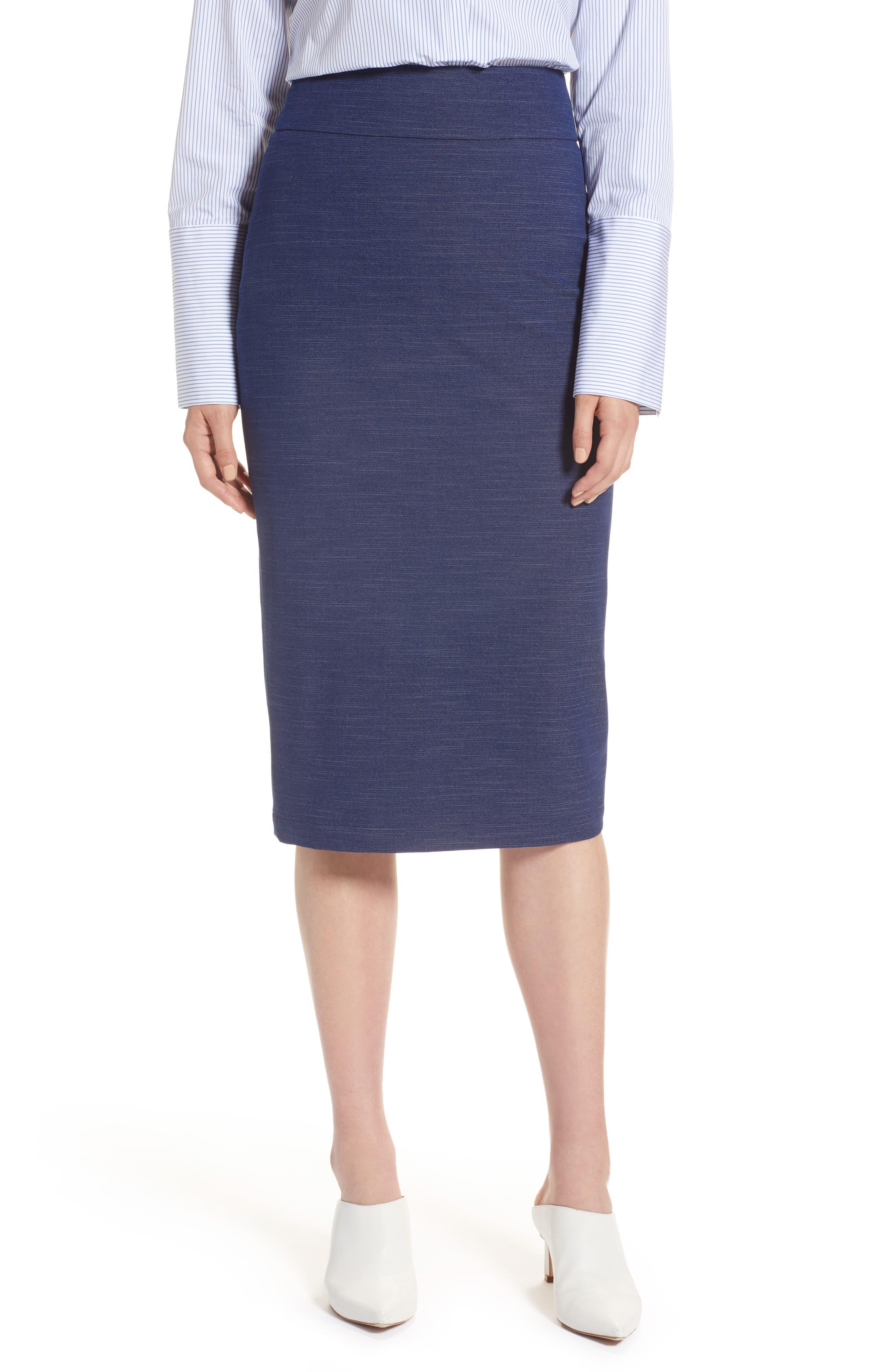 High Waist Chambray Skirt,                             Main thumbnail 1, color,                             Dark Chambray