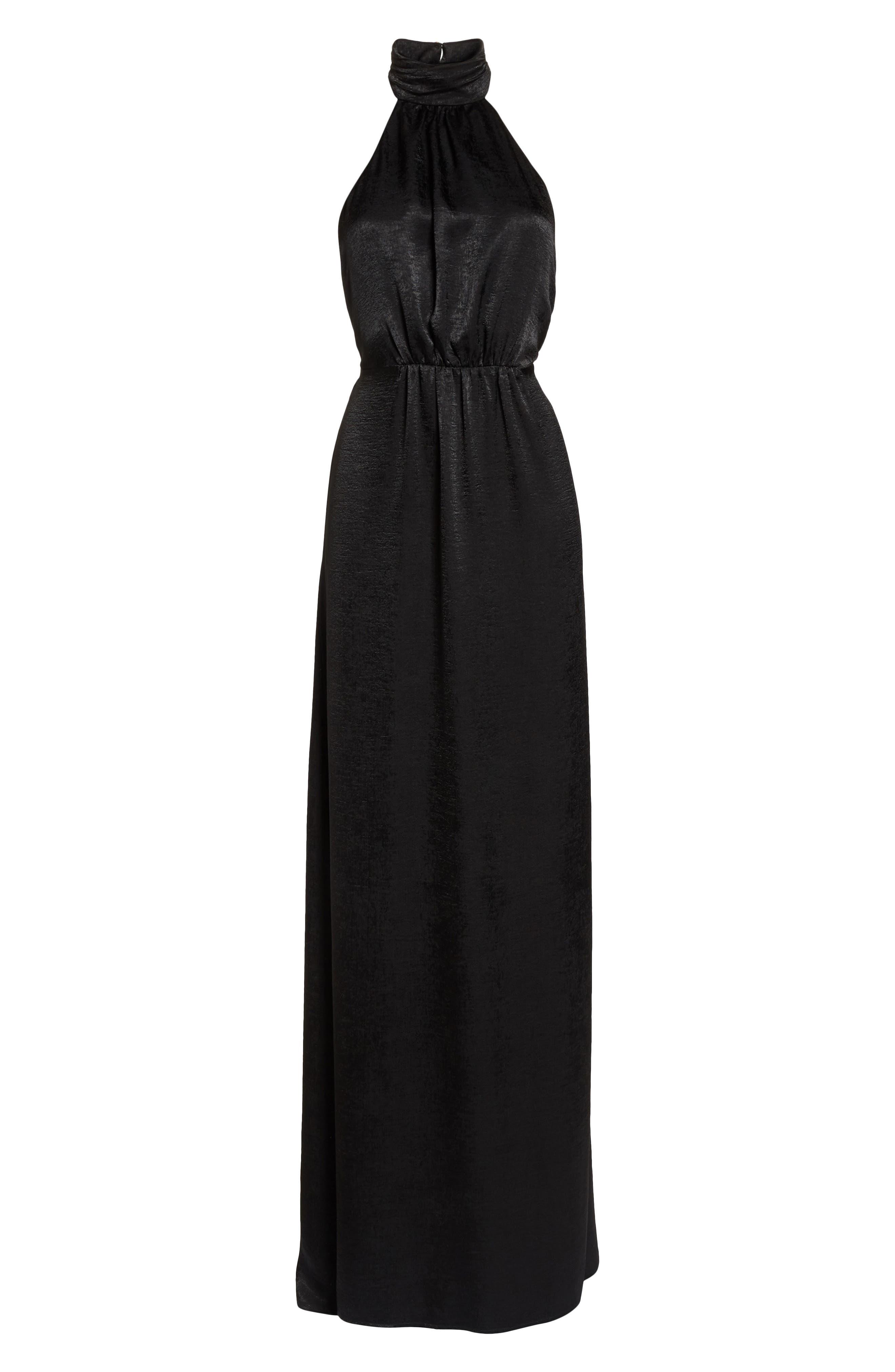 Collette Halter Gown,                             Alternate thumbnail 7, color,                             Black Sheen