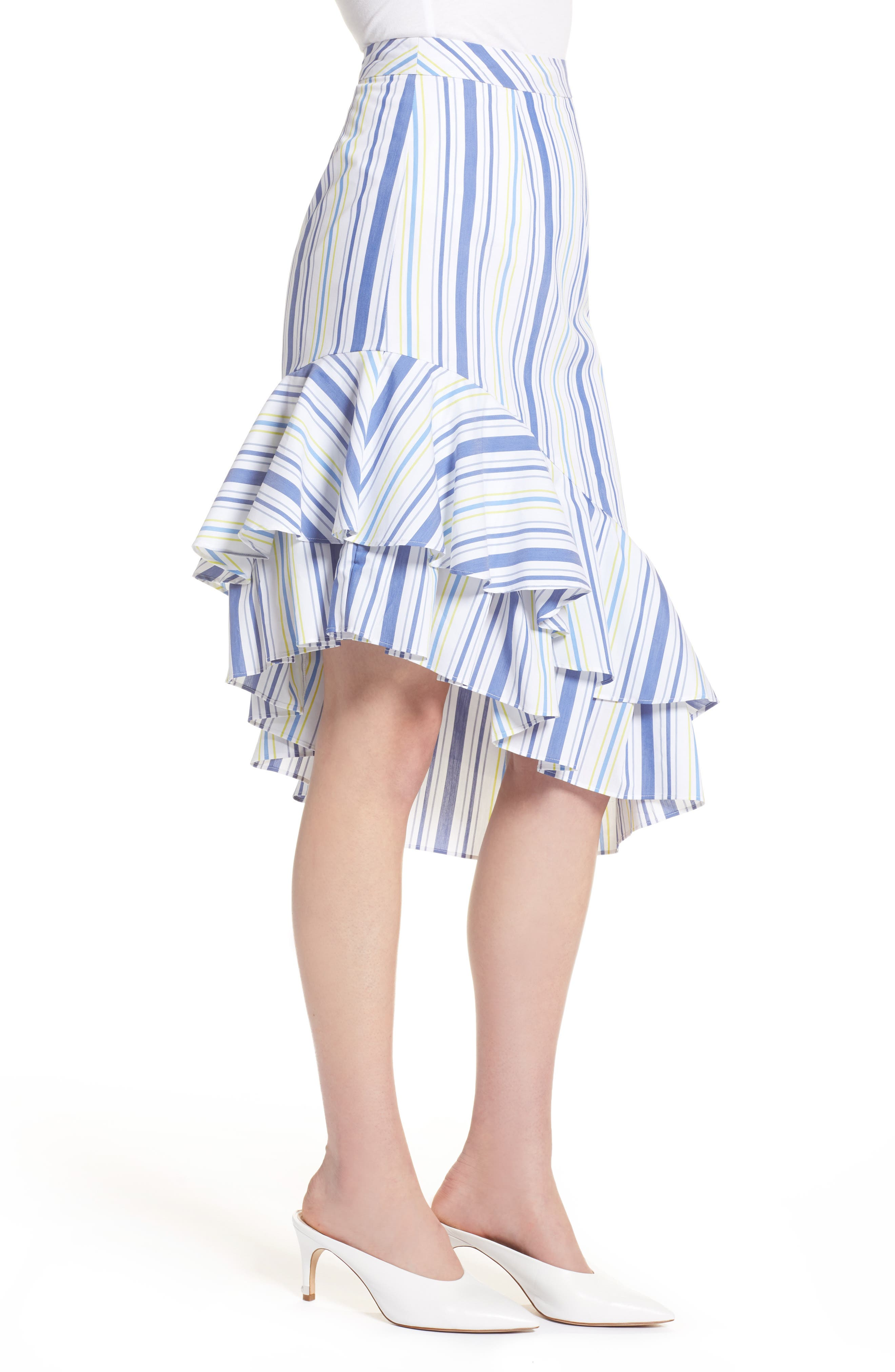 Alternate Image 3  - Halogen® Ruffle Hem Stripe Skirt (Regular & Petite)