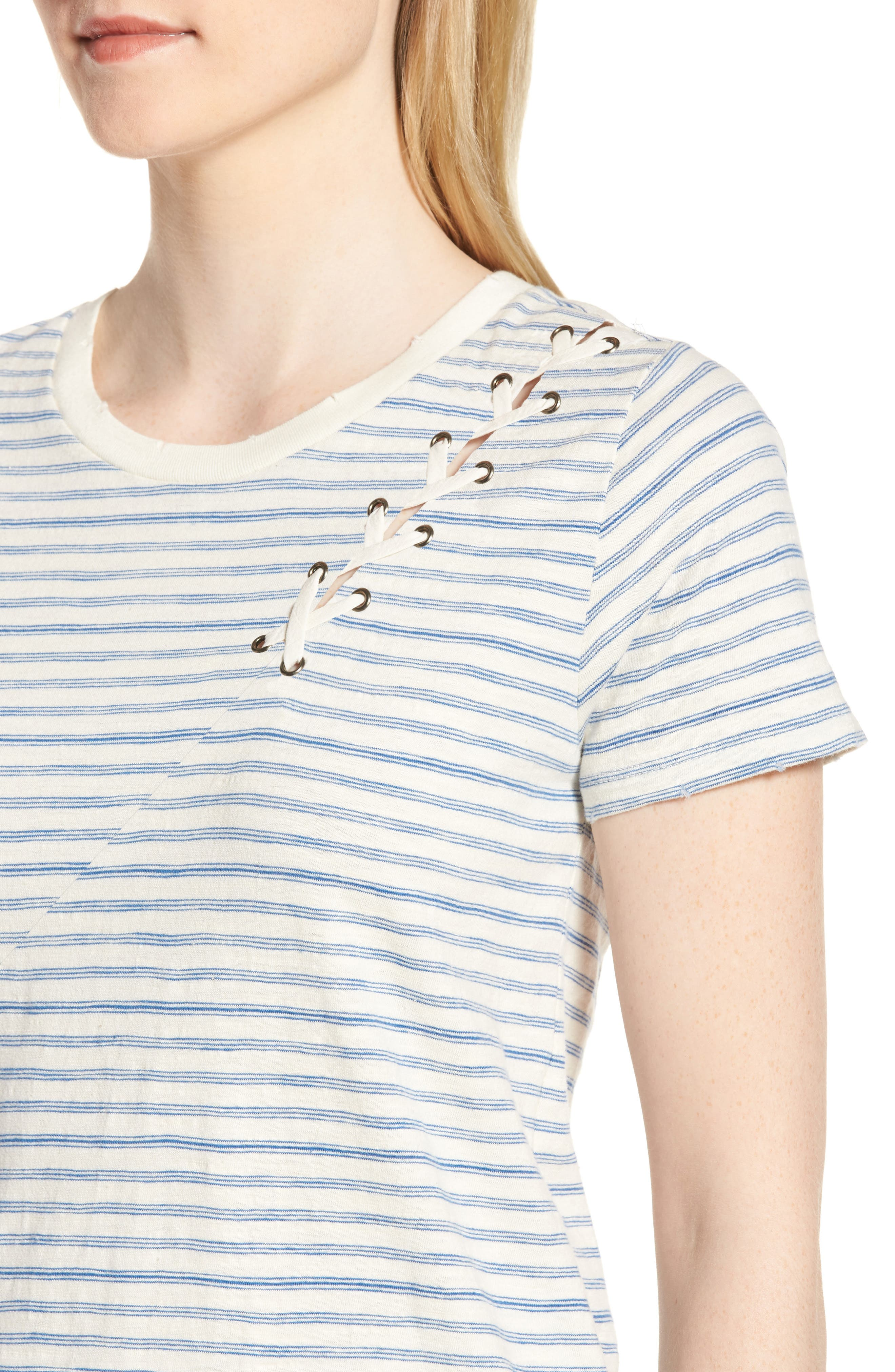 Lace-Up Shoulder Stripe Tee,                             Alternate thumbnail 4, color,                             Blue Multi