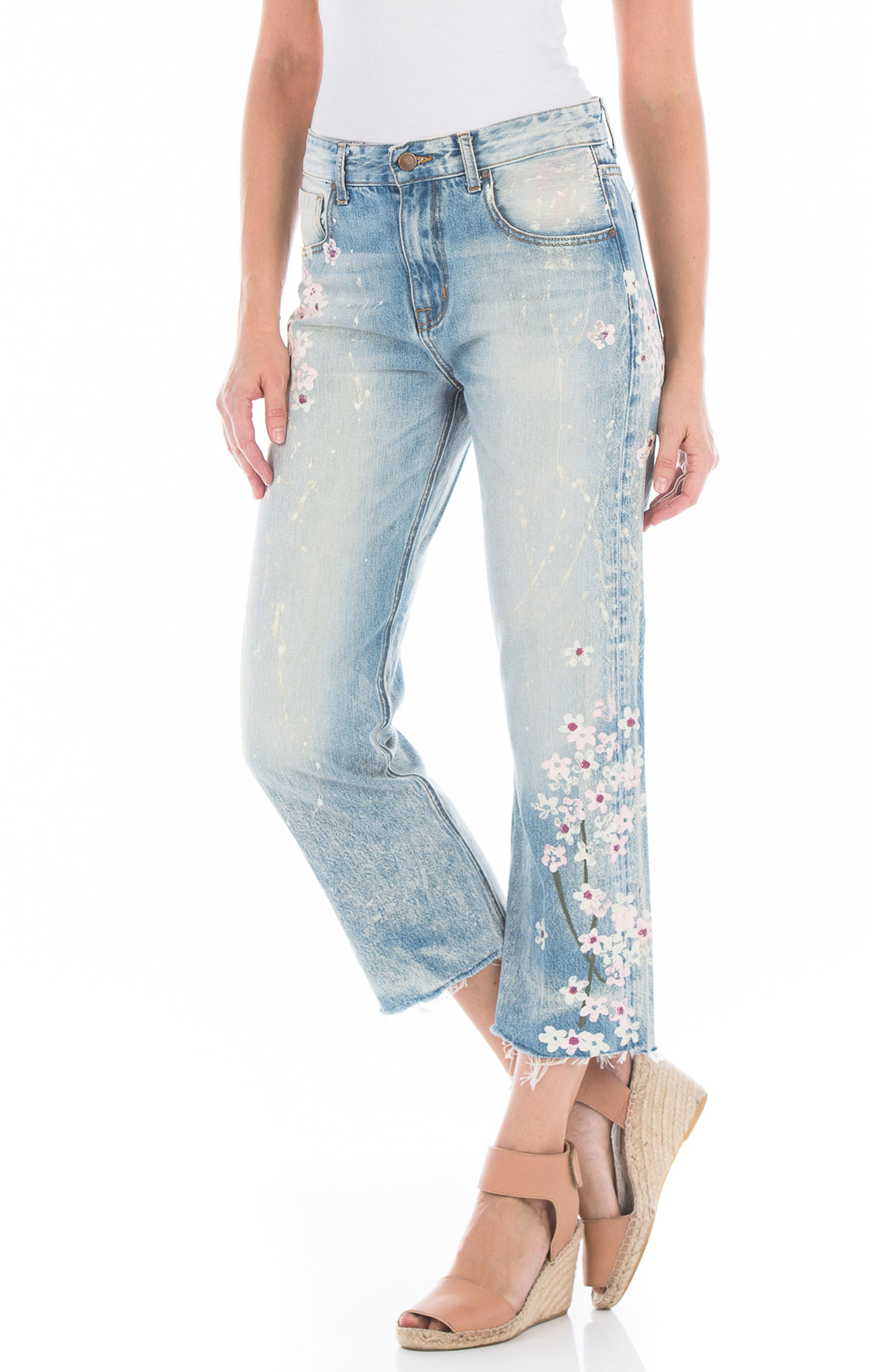 Taylor Painted Crop Wide Leg Jeans,                             Alternate thumbnail 3, color,                             Cherry Blossom