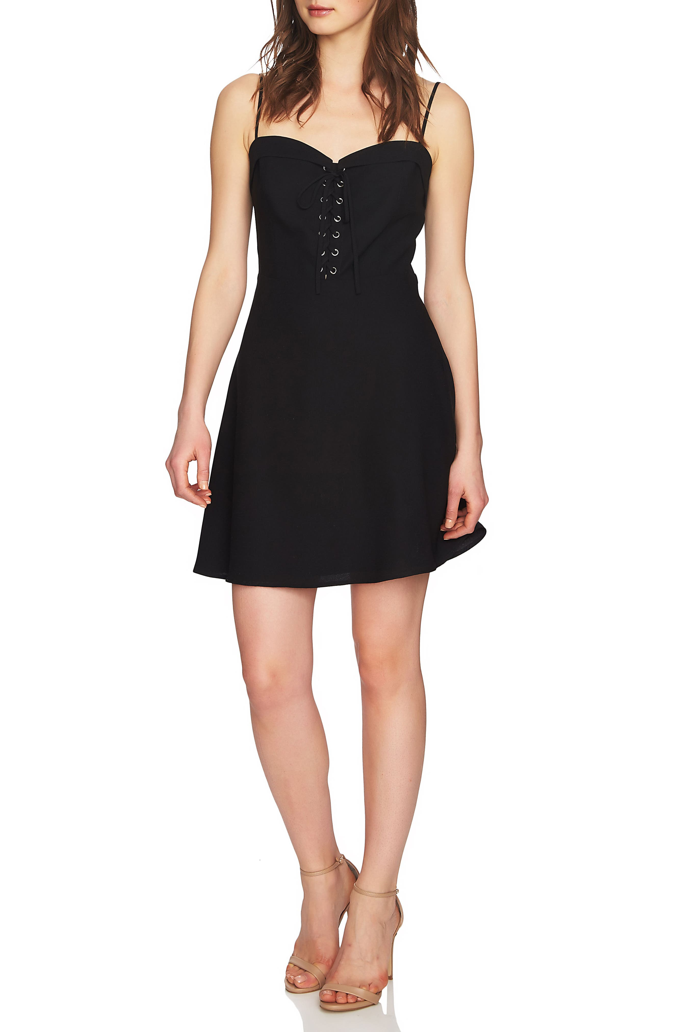 Robin Lace-Up Dress,                         Main,                         color, Rich Black