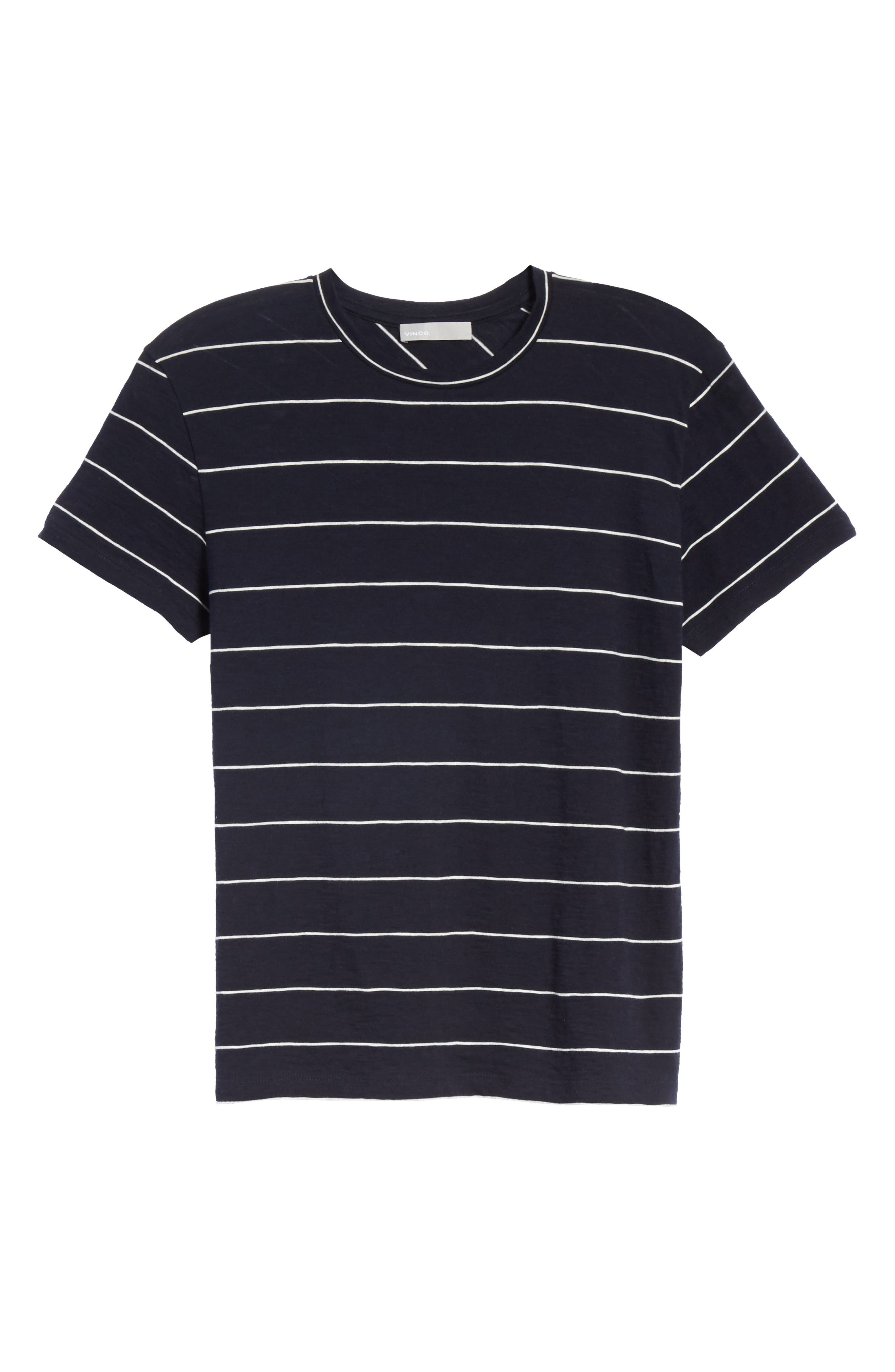 Skinny Stripe Pima Cotton Top,                             Alternate thumbnail 6, color,                             Coastal/ Vanilla