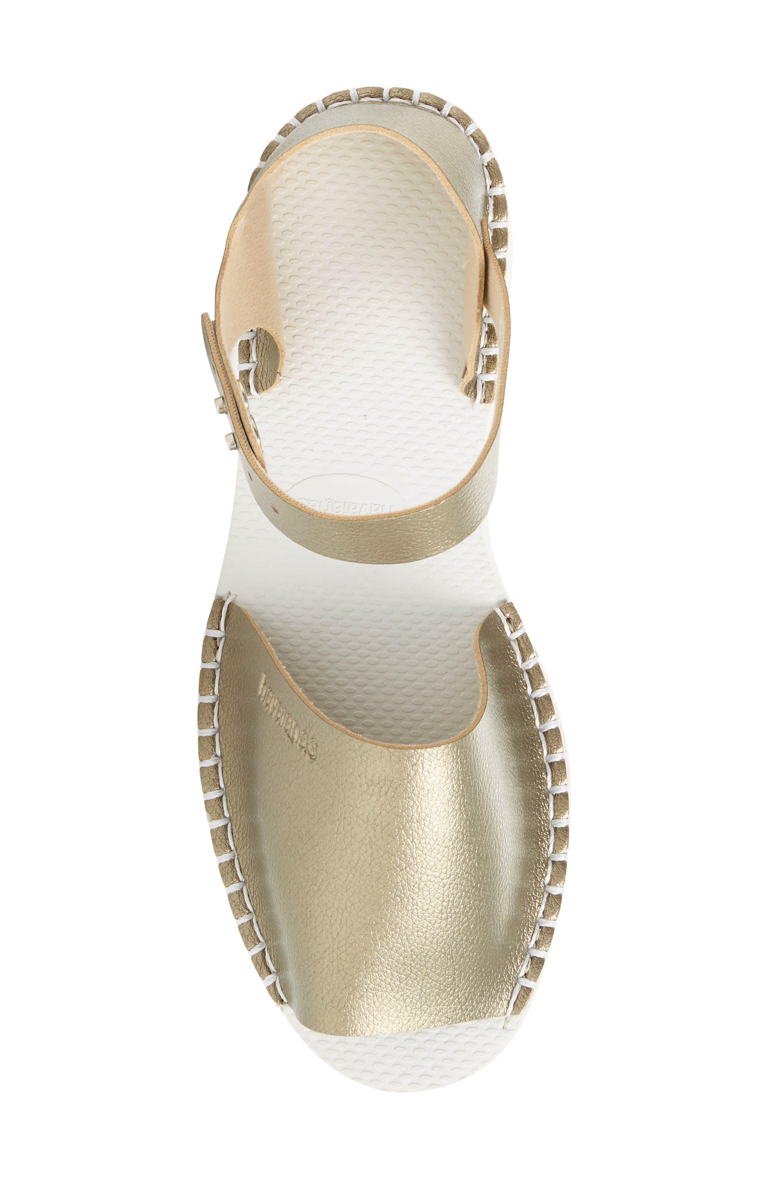 Flatform Fashion Sandal,                             Alternate thumbnail 5, color,                             Golden