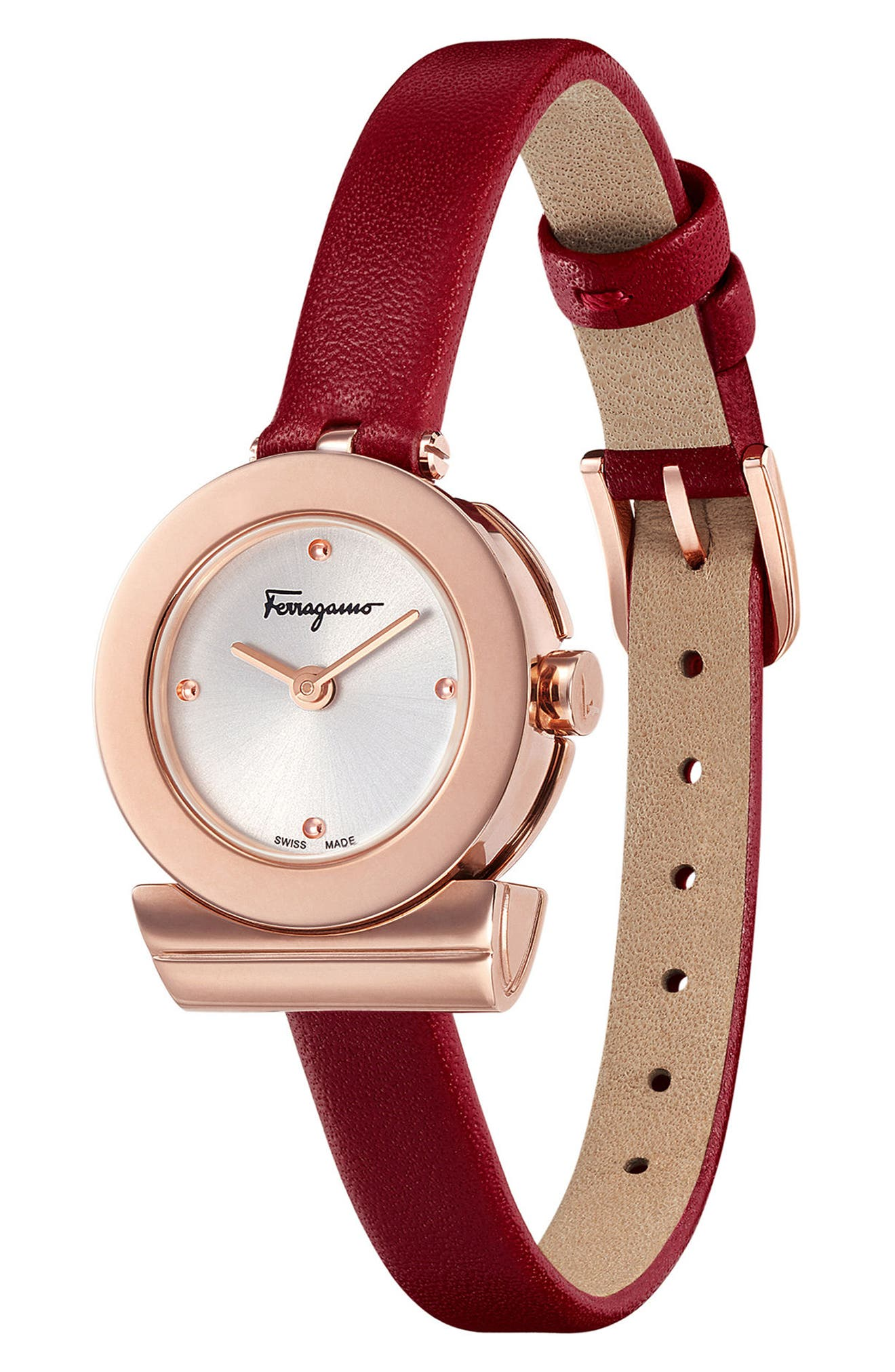 Gancino Leather Bracelet Watch, 22mm,                             Alternate thumbnail 3, color,                             Burgundy/ Silver/ Rose Gold