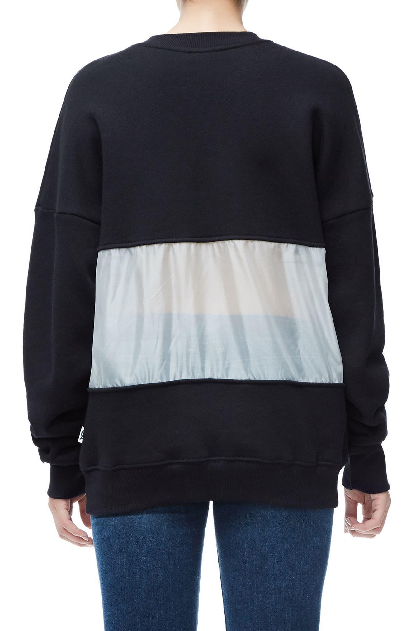 Mixed Media Oversize Sweatshirt,                             Alternate thumbnail 2, color,                             Black001