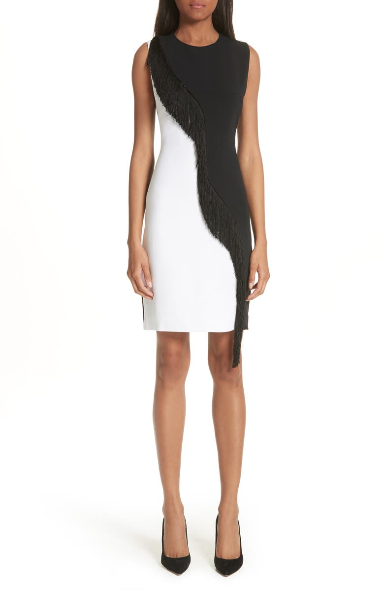 Nisa Two-Tone Asymmetrical Fringe Dress