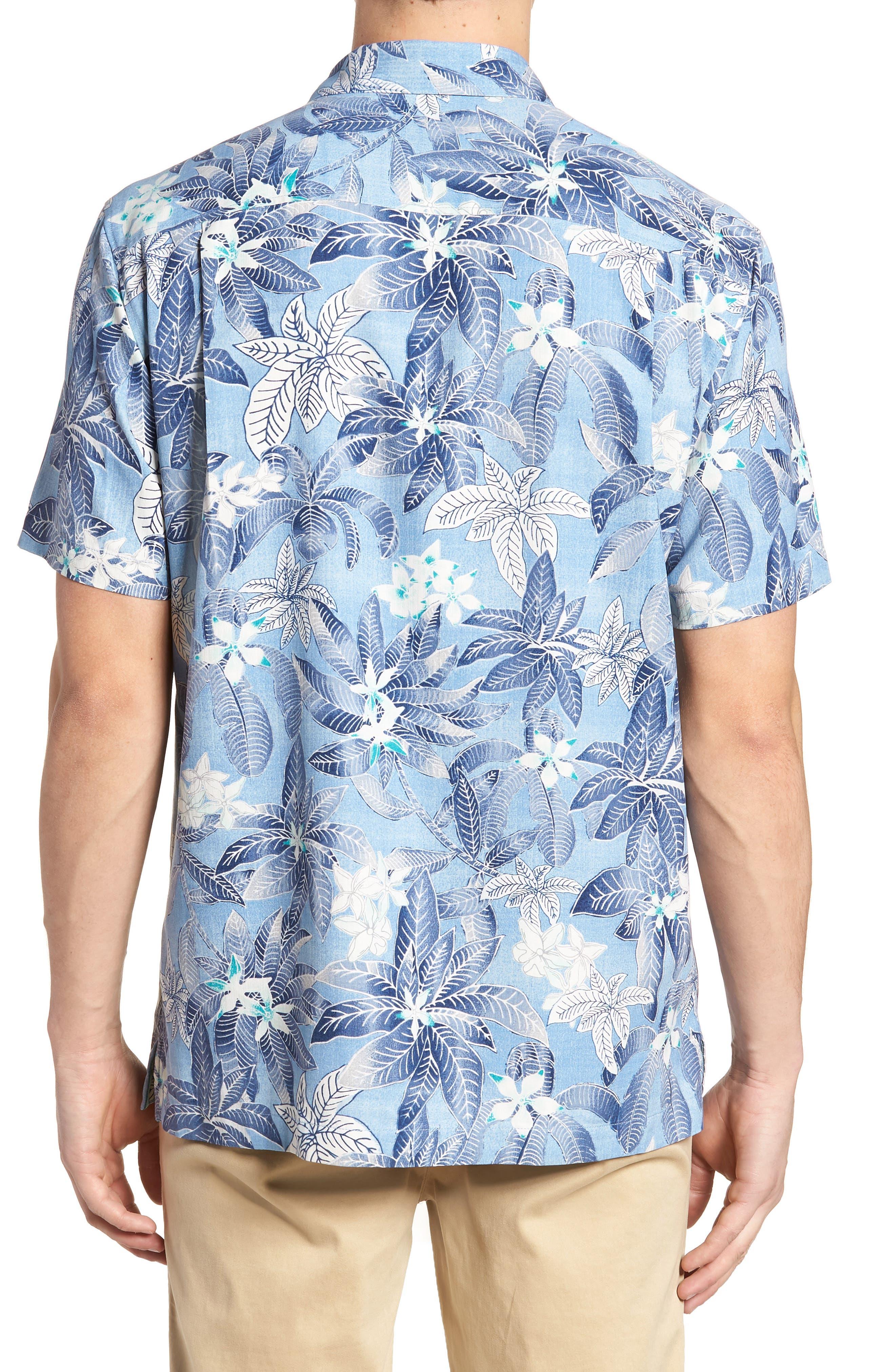 El Medano Jungle Silk Camp Shirt,                             Alternate thumbnail 3, color,                             Blue Aster